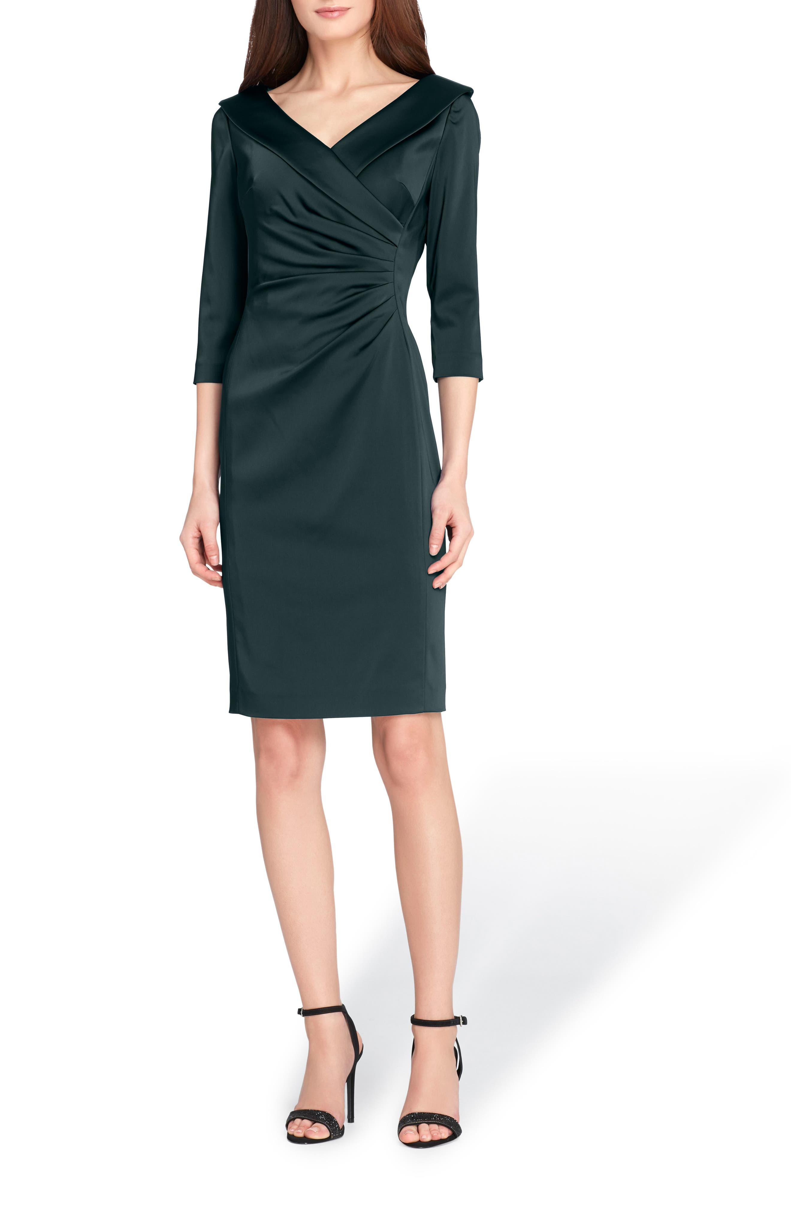 Ruched Stretch Satin Sheath Dress,                         Main,                         color, Forest Green