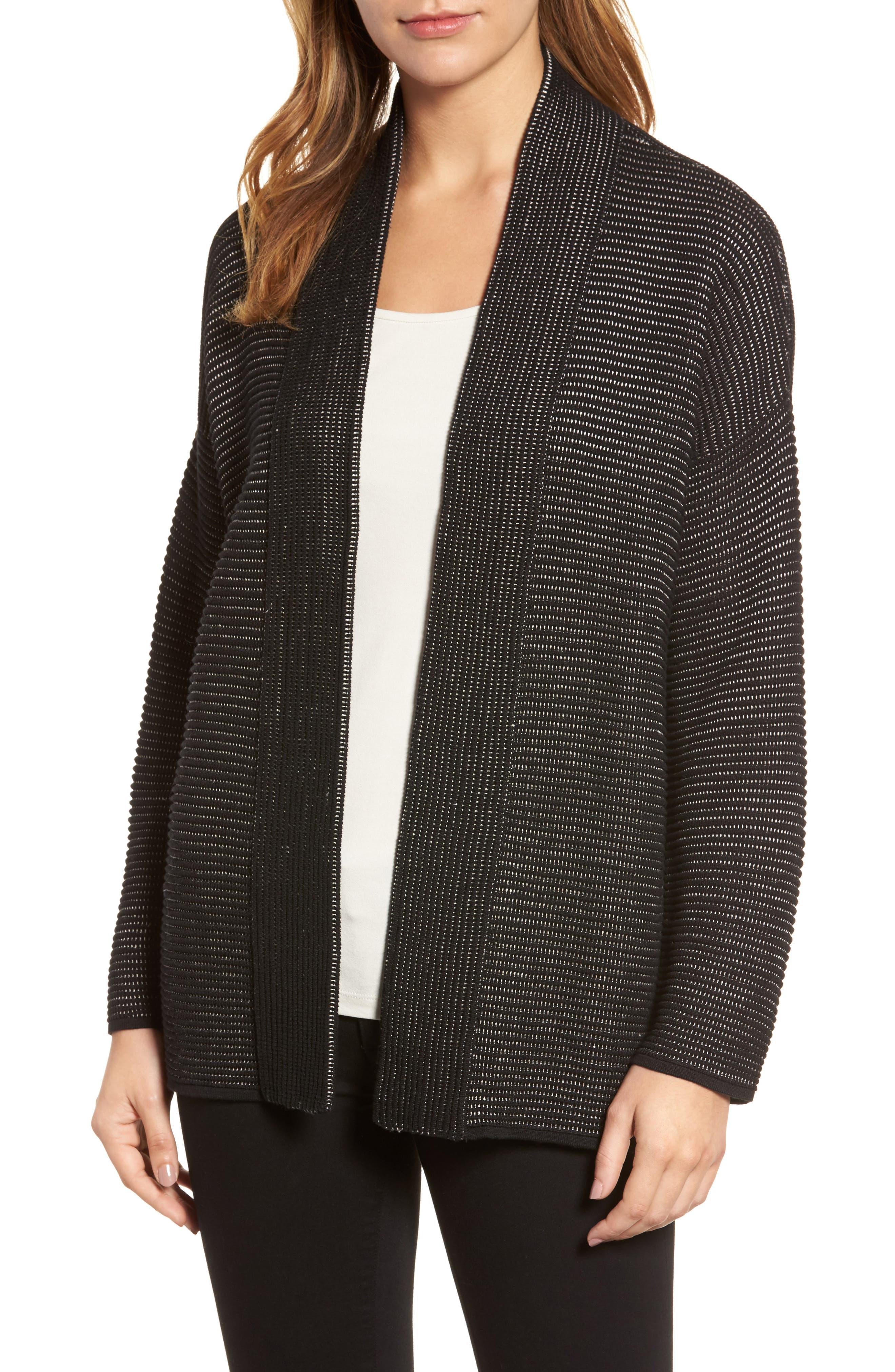Silk Blend Ottoman Knit Cardigan,                             Main thumbnail 1, color,                             Black Natural