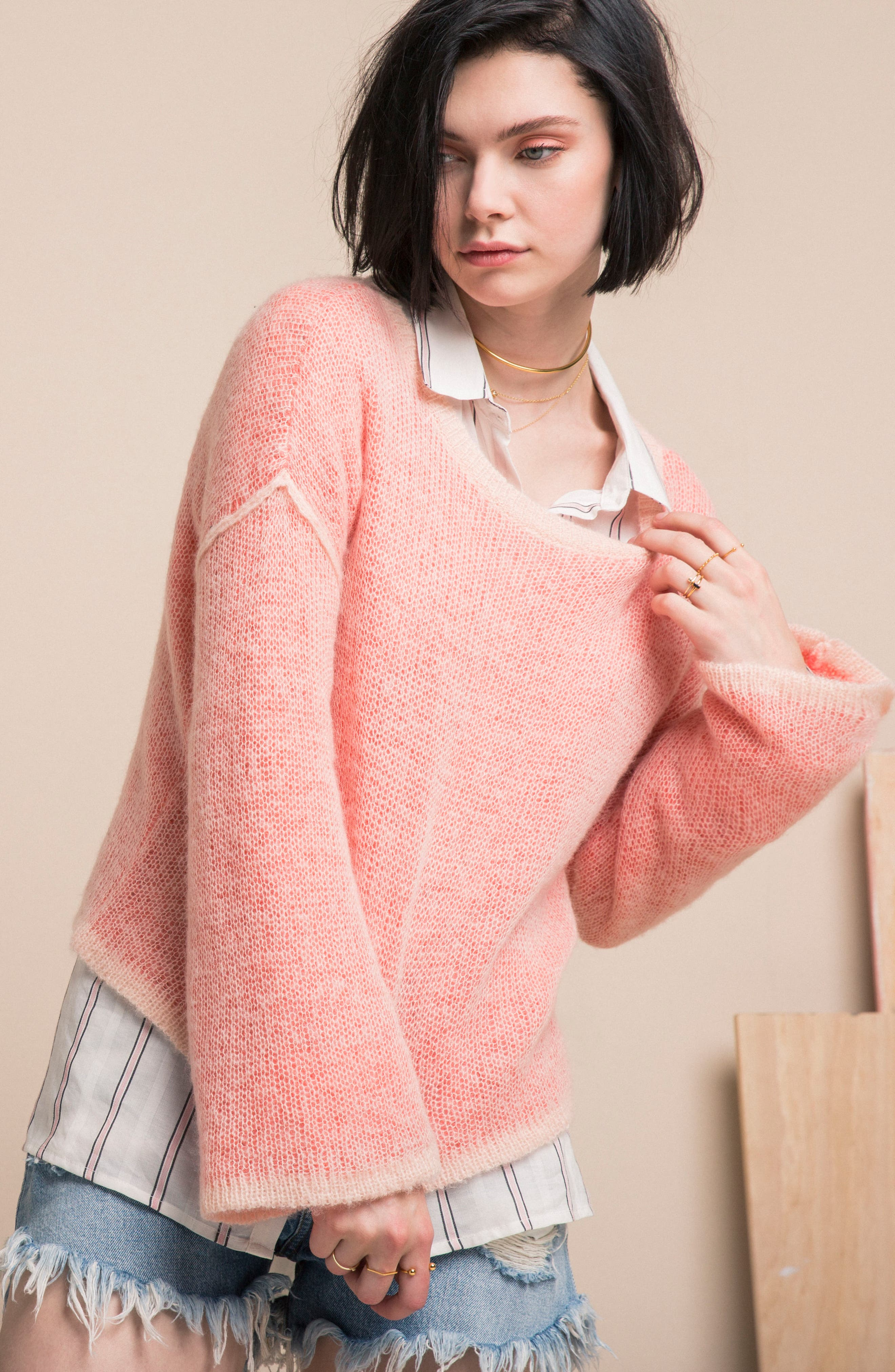Bell Sleeve Sweater,                             Alternate thumbnail 8, color,                             Pink