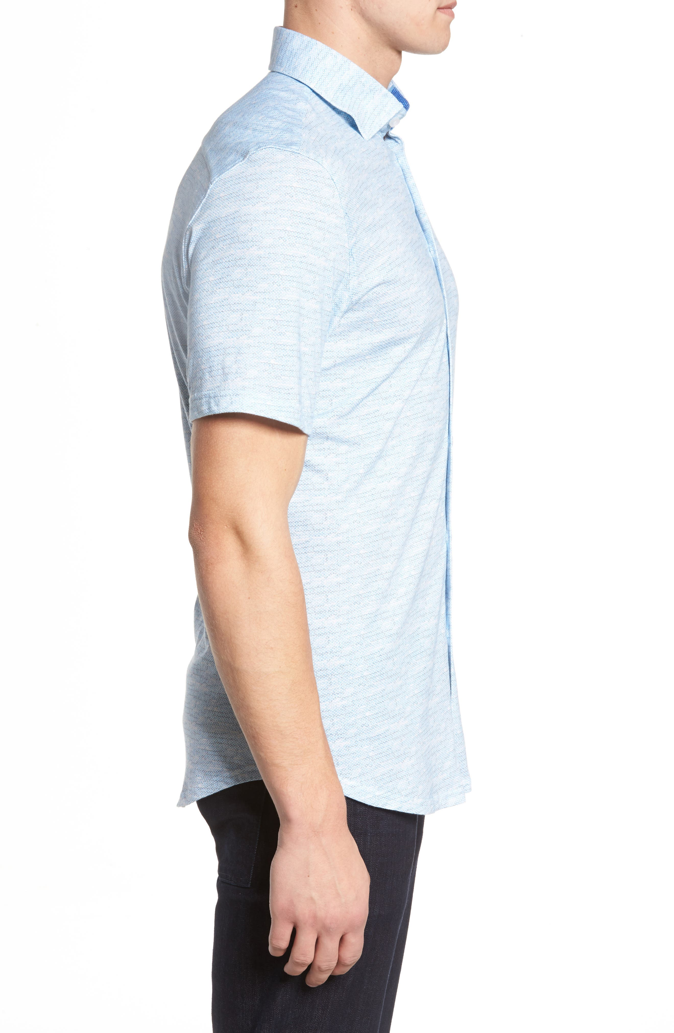 Trim Fit Mélange Sport Shirt,                             Alternate thumbnail 3, color,                             Blue