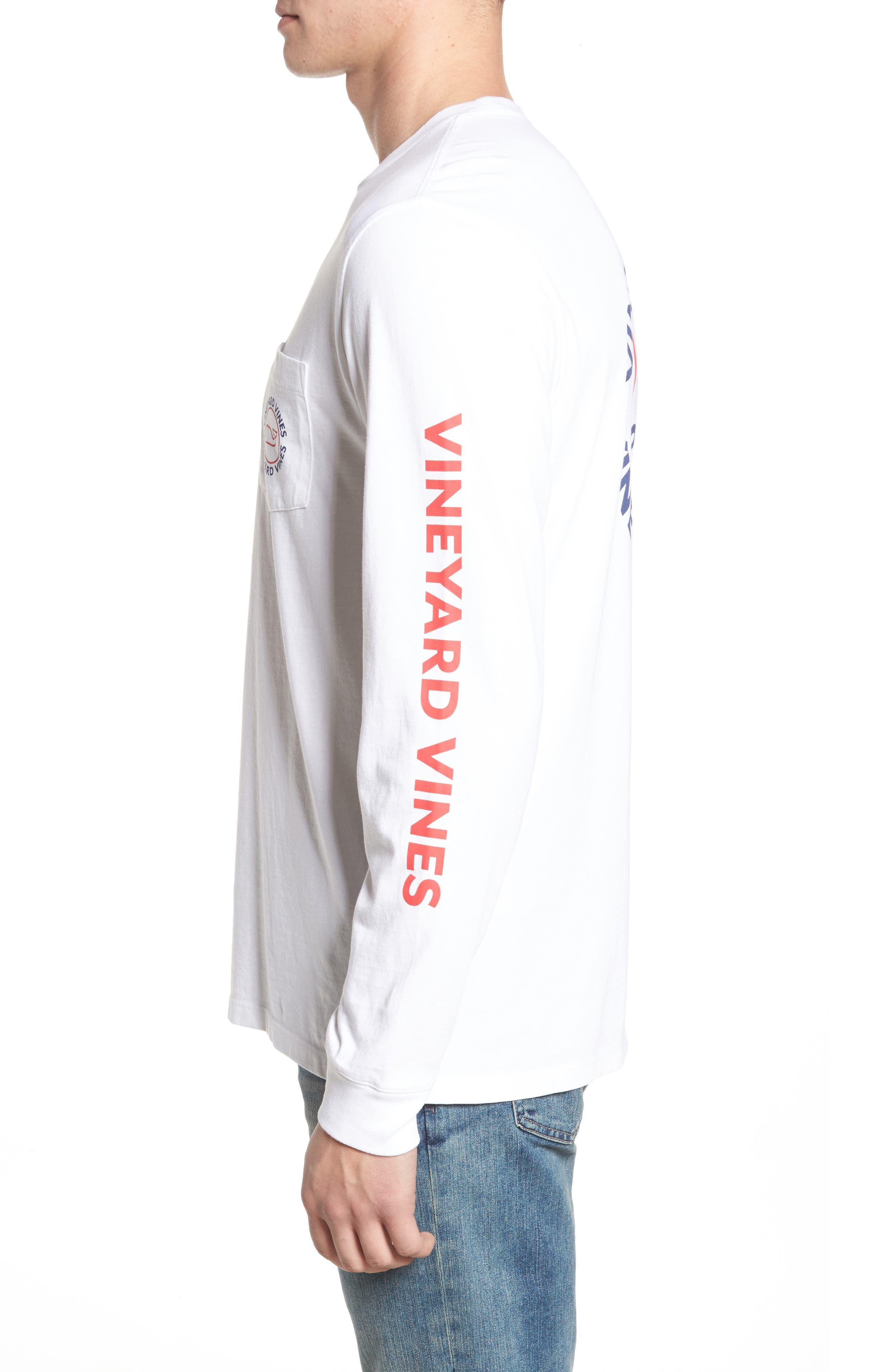 Logo Graphic Long Sleeve T-Shirt,                             Alternate thumbnail 3, color,                             White Cap