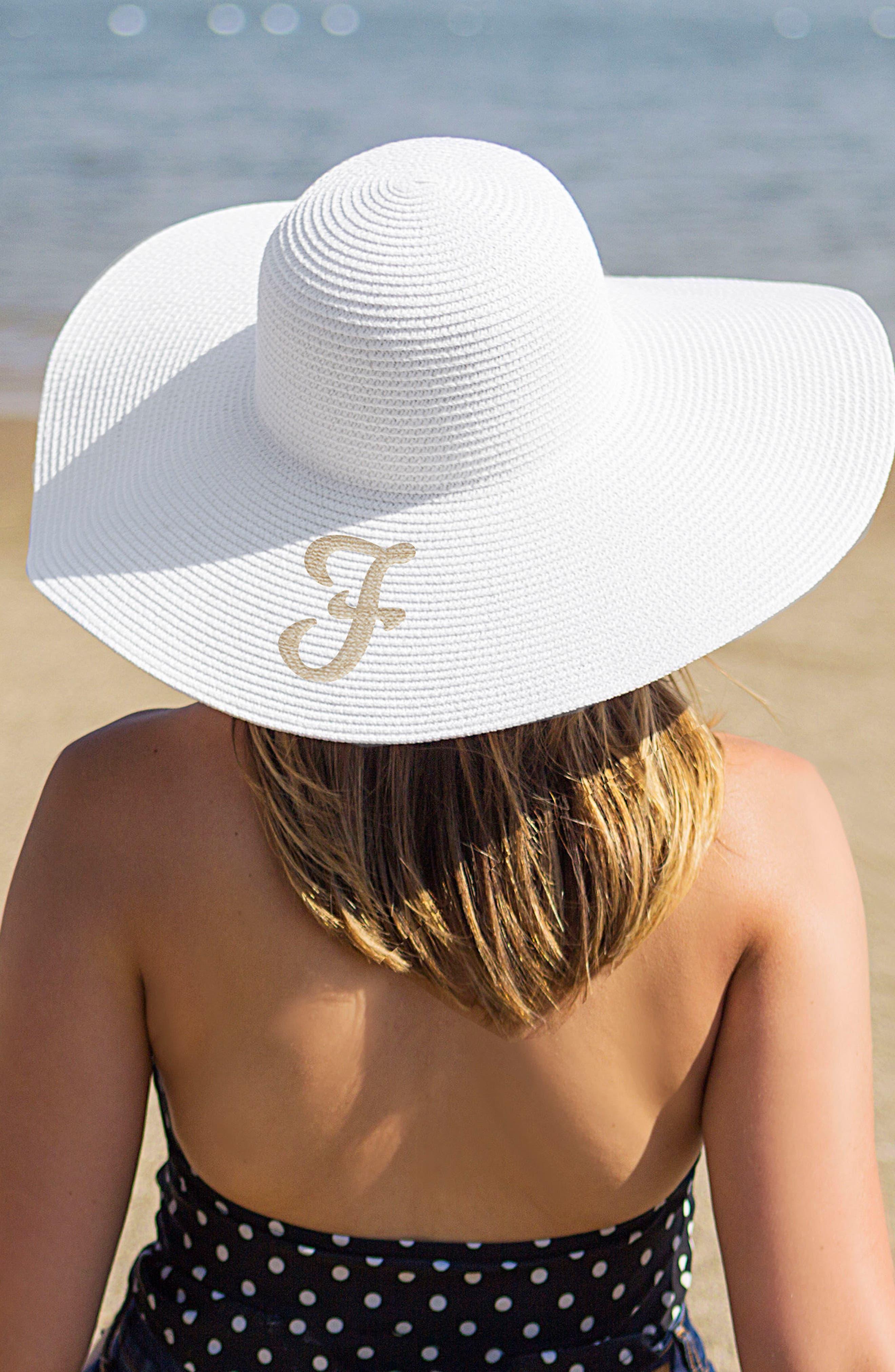 Monogram Straw Sun Hat,                         Main,                         color, White- F