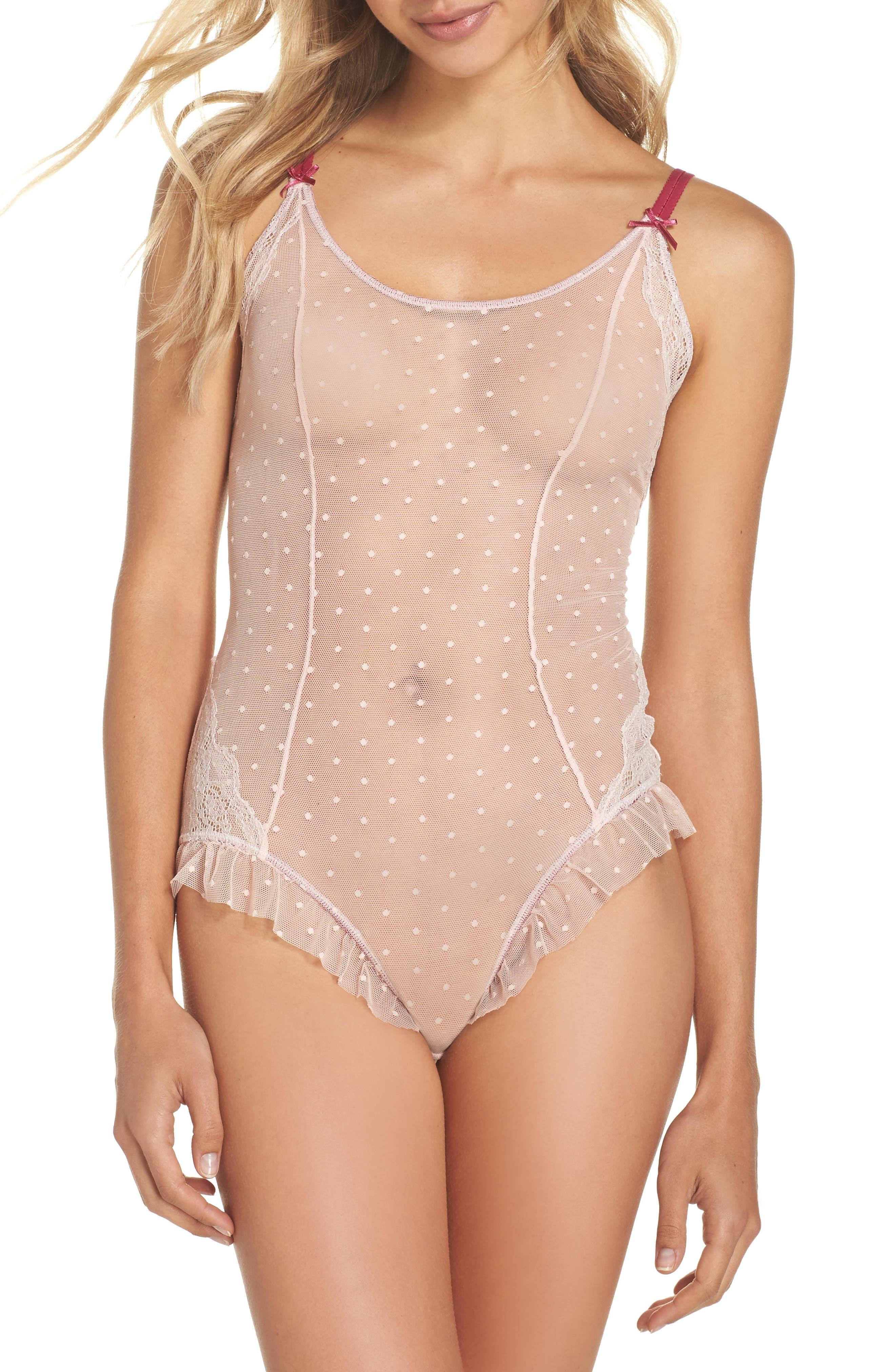 Honeydew Dot Mesh Ruffle Bodysuit