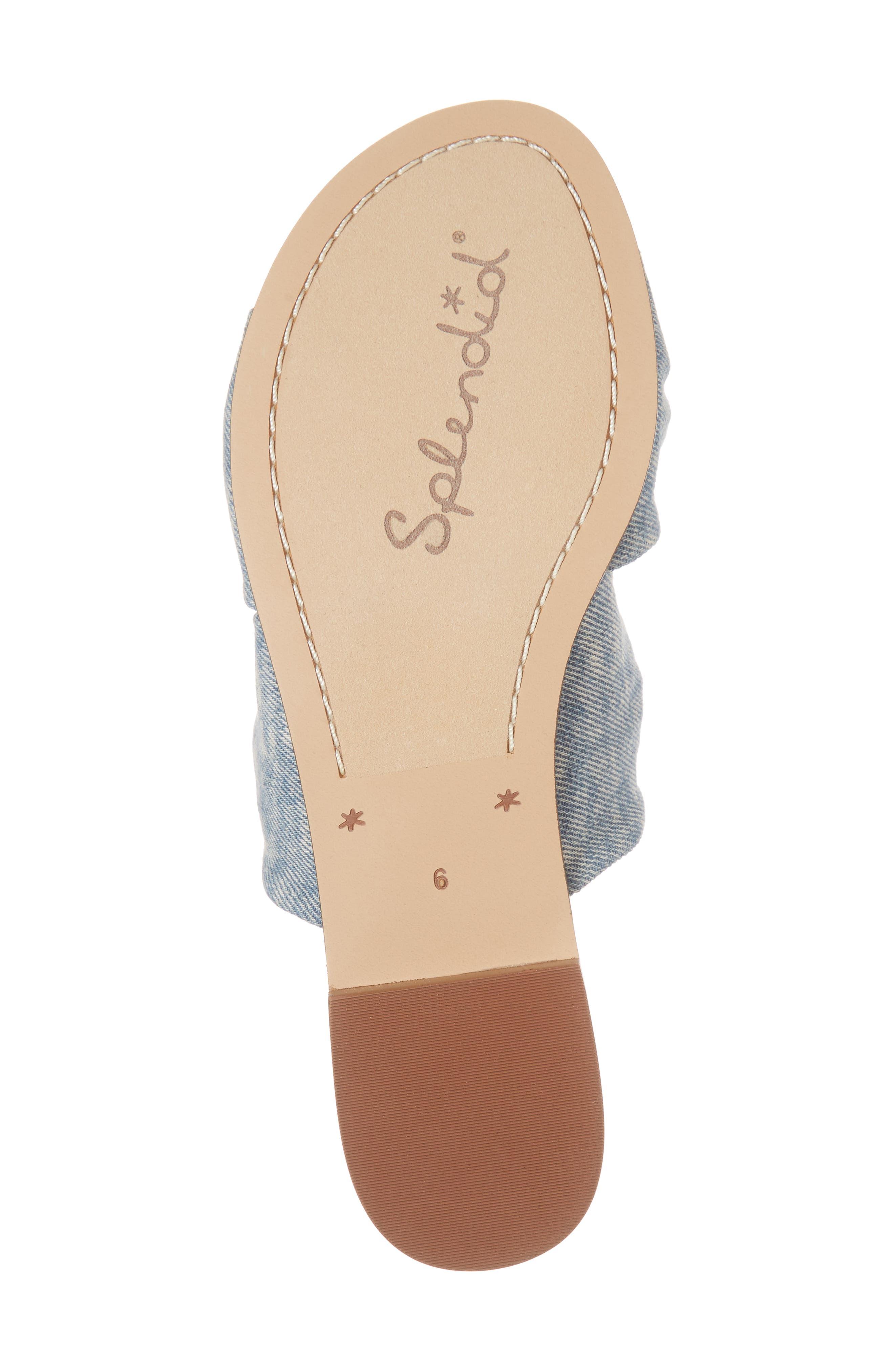 Barton Double Knotted Slide Sandal,                             Alternate thumbnail 6, color,                             Jean Fabric