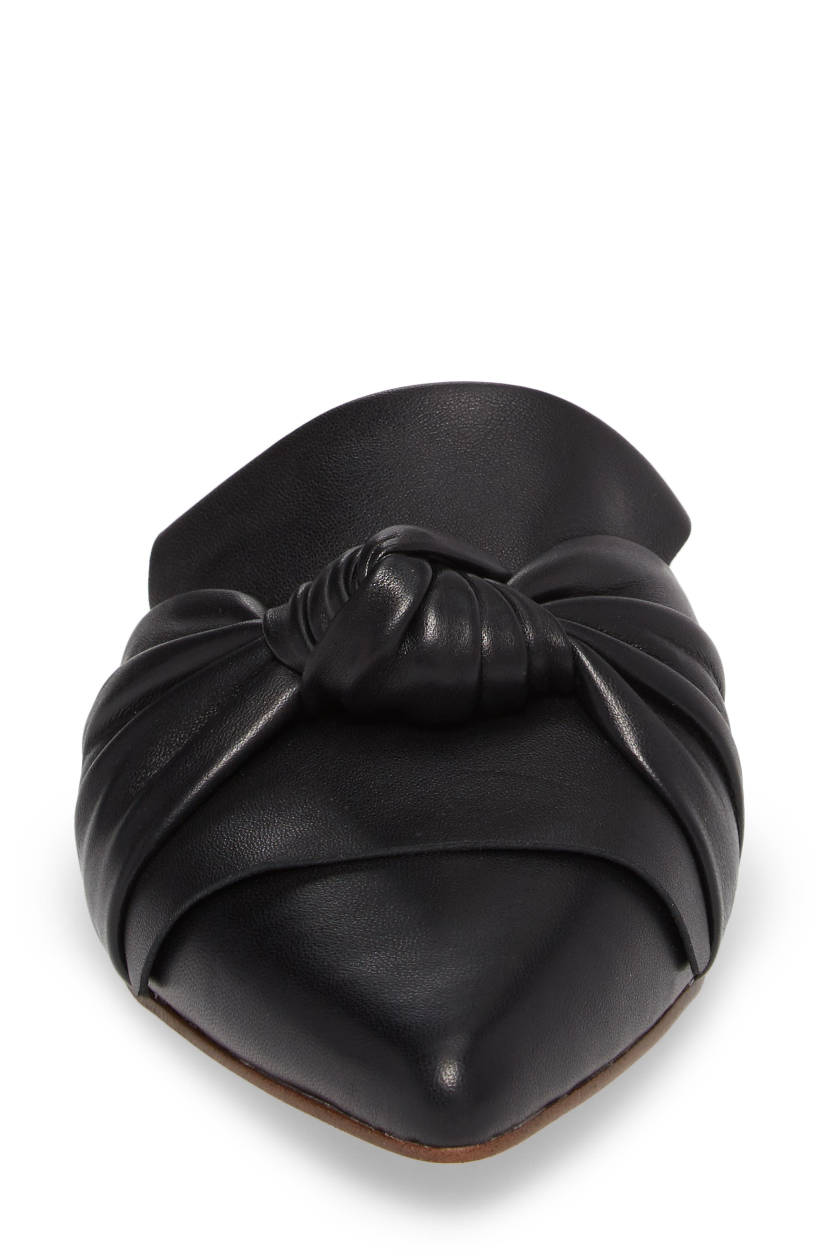 Bassett Knotted Pointy Toe Mule,                             Alternate thumbnail 4, color,                             Black Leather