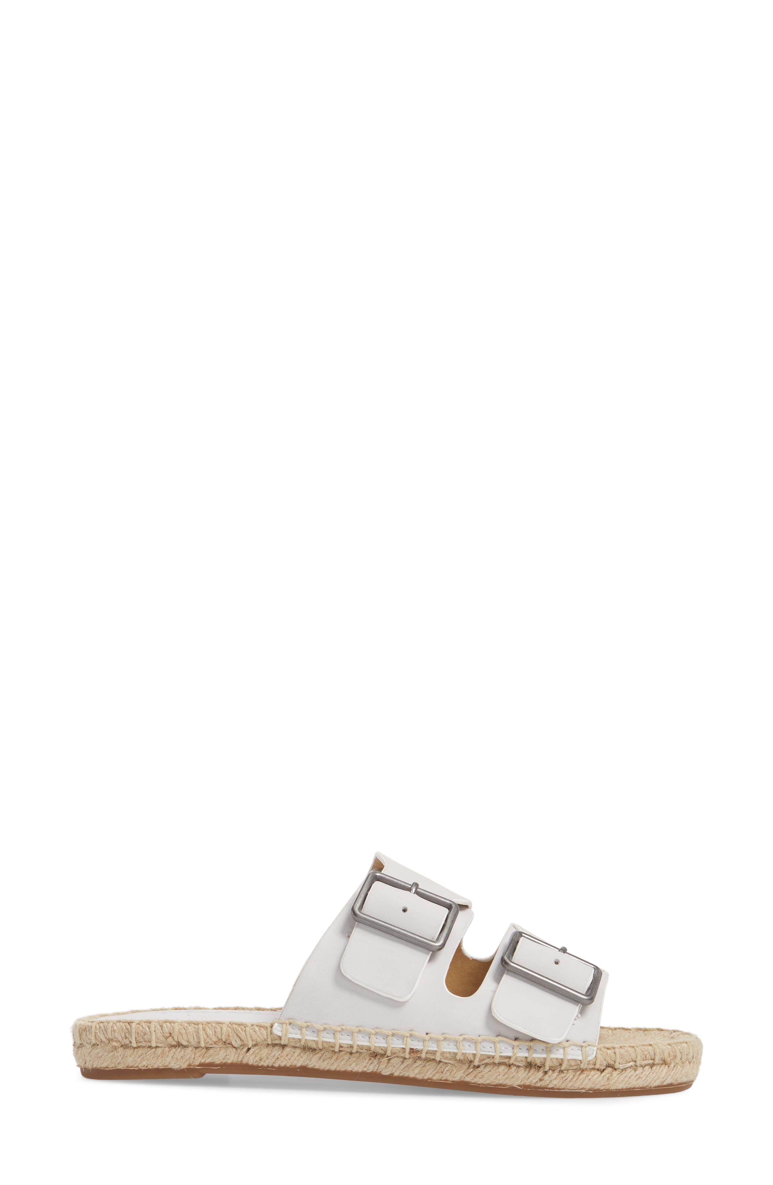 Blake Buckle Espadrille Sandal,                             Alternate thumbnail 3, color,                             White Leather