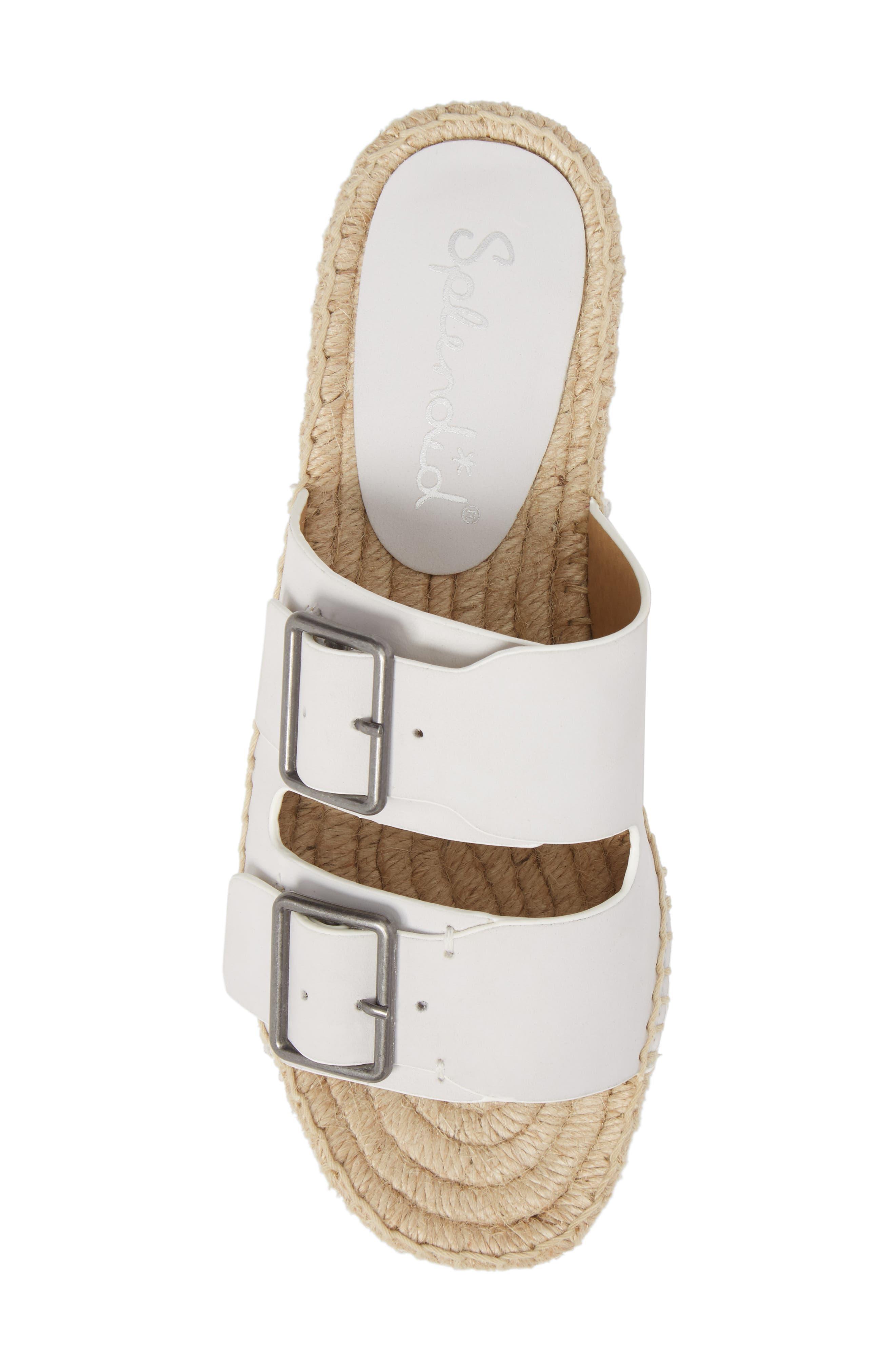 Blake Buckle Espadrille Sandal,                             Alternate thumbnail 5, color,                             White Leather