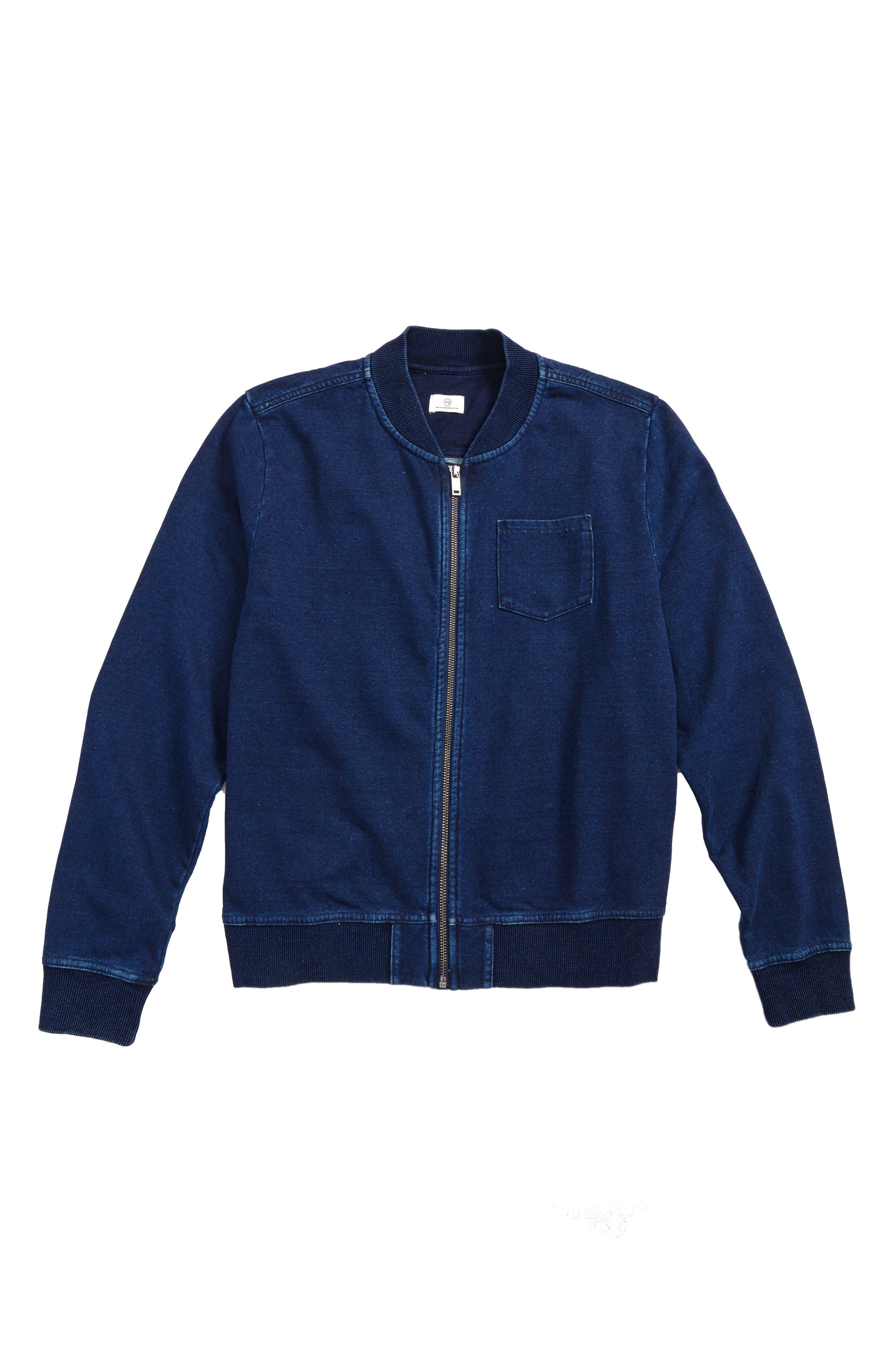 AG Jersey Fleece Bomber Jacket,                             Main thumbnail 1, color,                             Indigo