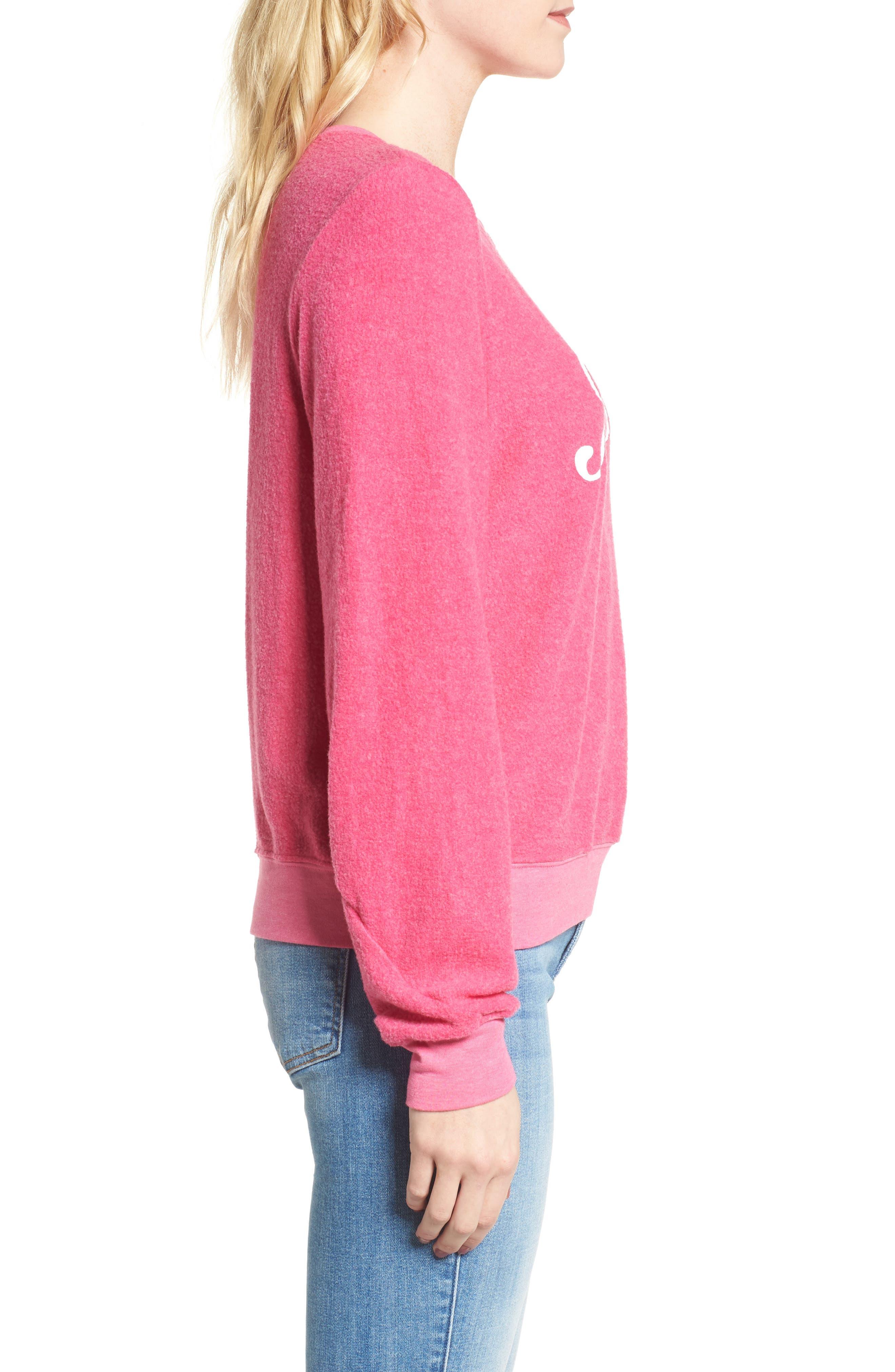 Jet Lagged Sweatshirt,                             Alternate thumbnail 3, color,                             Malibu Pink