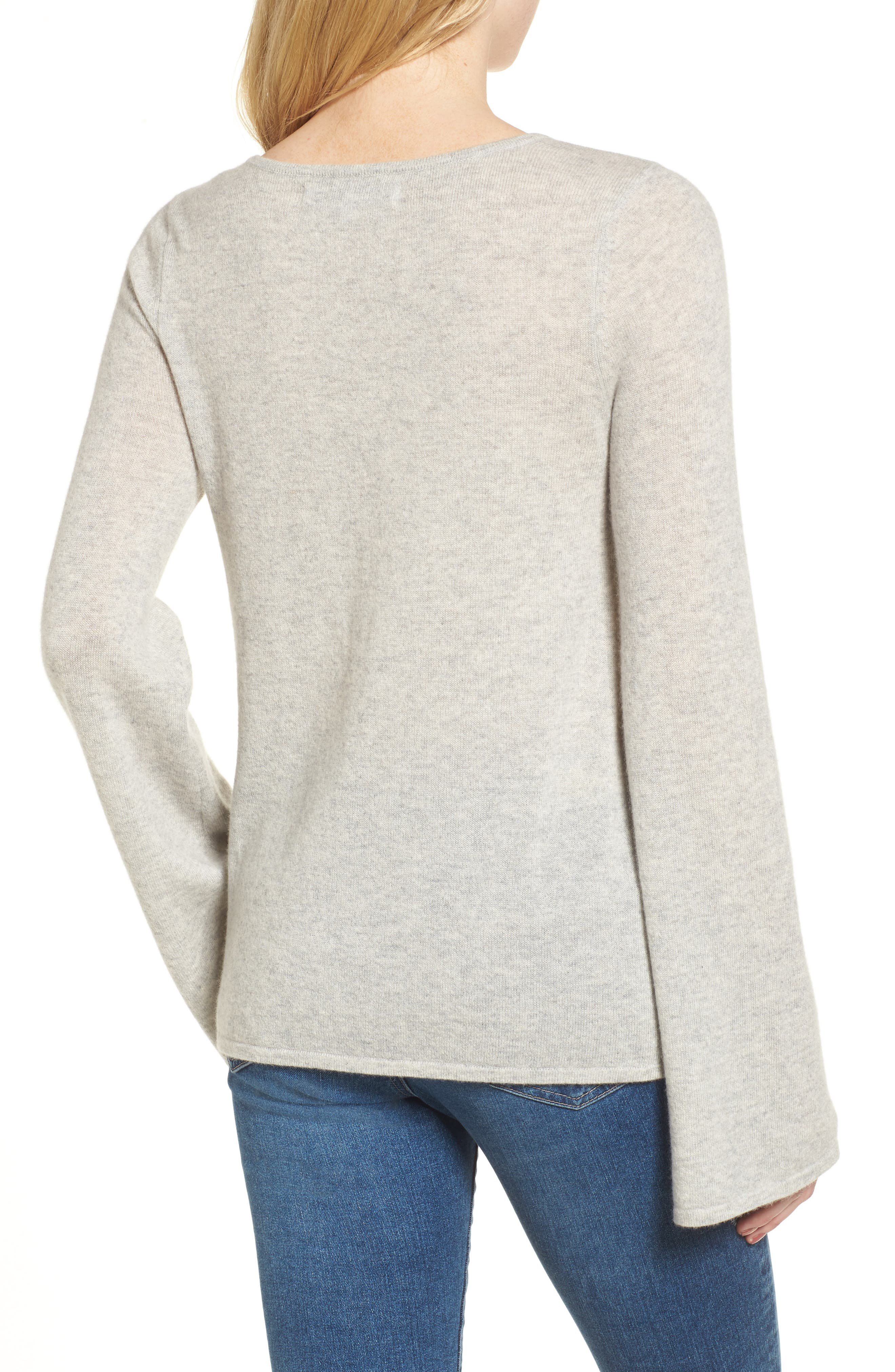 Marylee Cashmere Top,                             Alternate thumbnail 2, color,                             Light Heather Grey