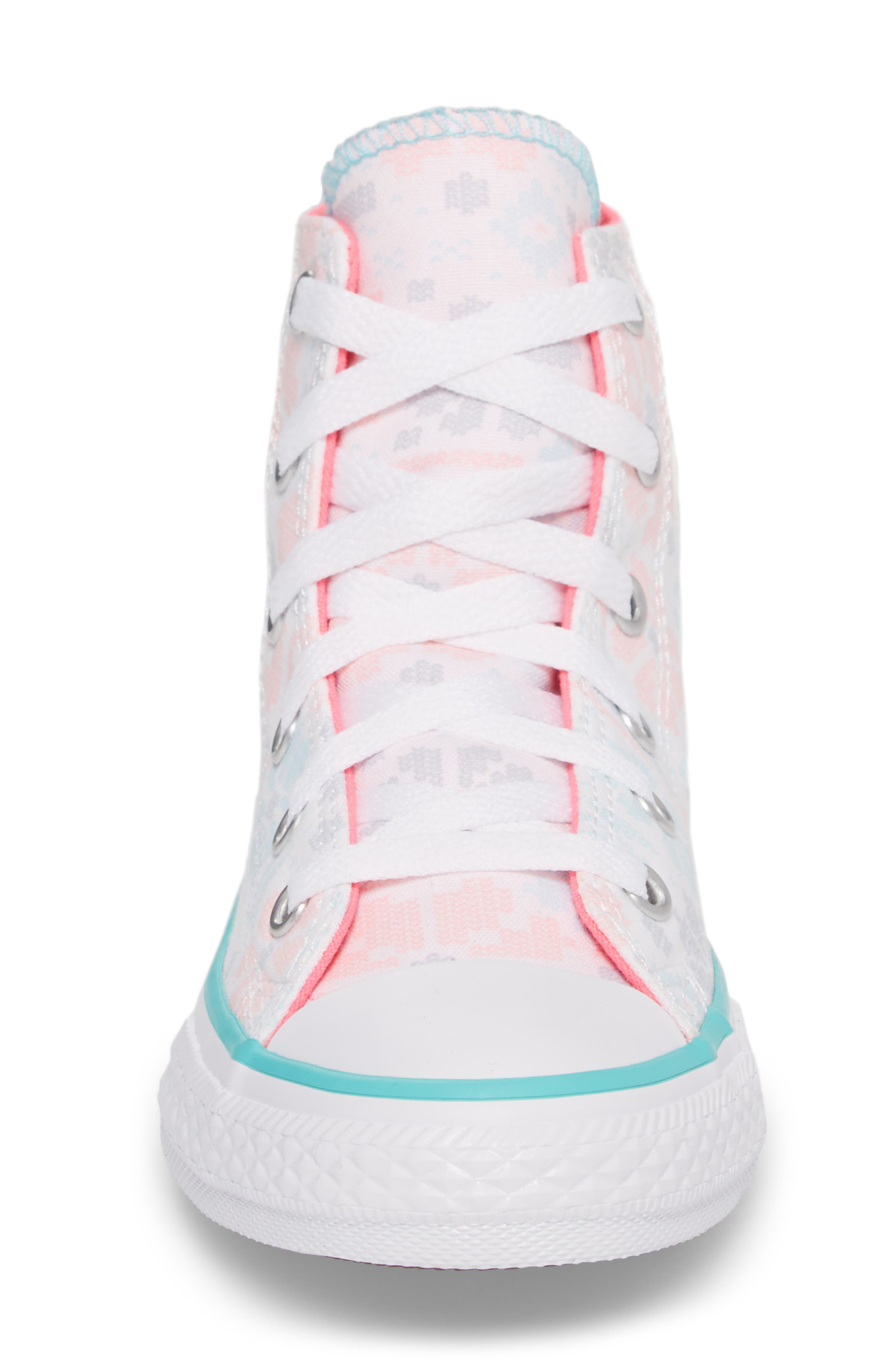 Chuck Taylor<sup>®</sup> All Star<sup>®</sup> High Top Sneaker,                             Alternate thumbnail 4, color,                             White/ Pink Canvas