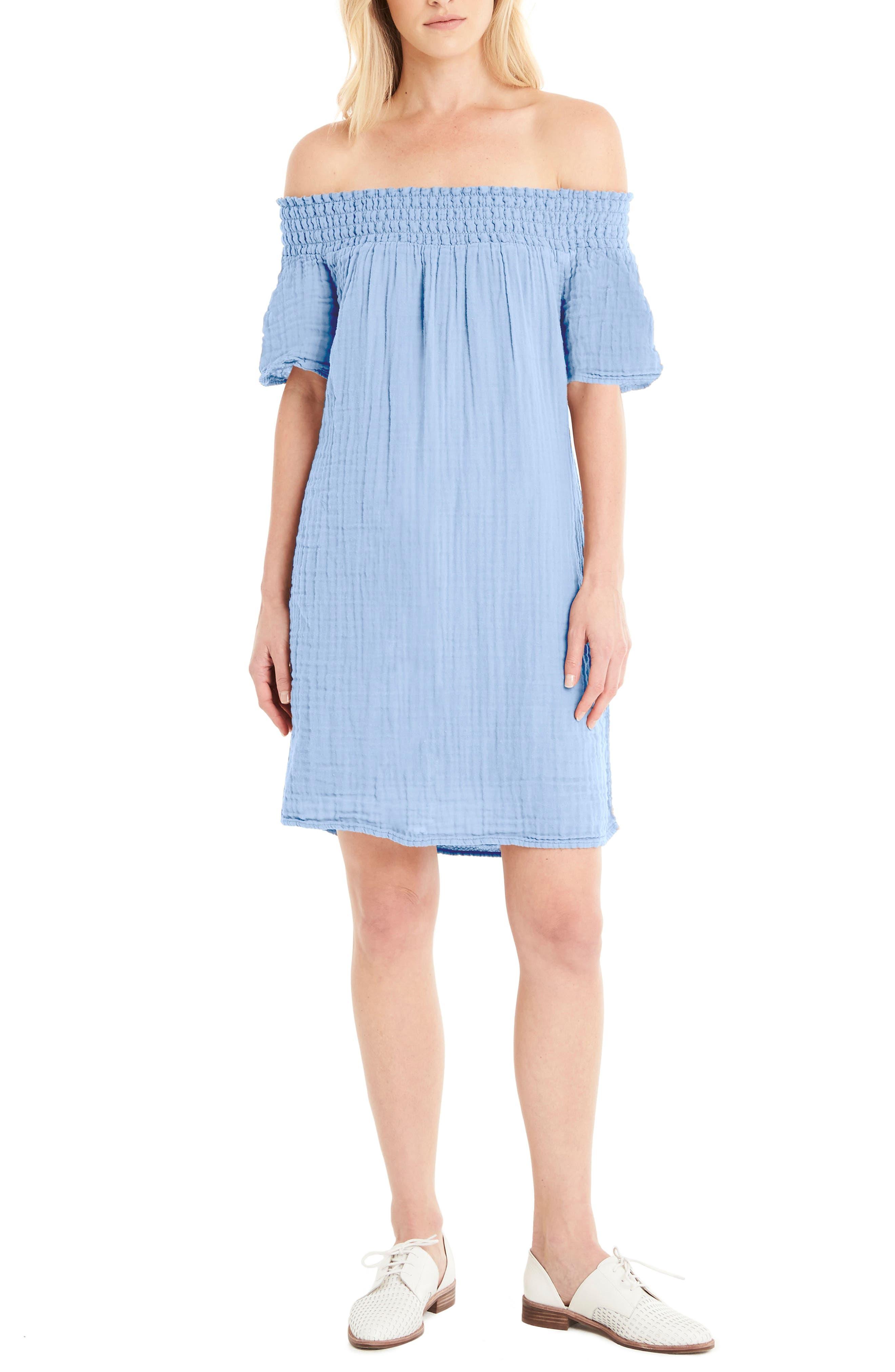 Smocked Cotton Off the Shoulder Dress,                         Main,                         color, Sea Breeze