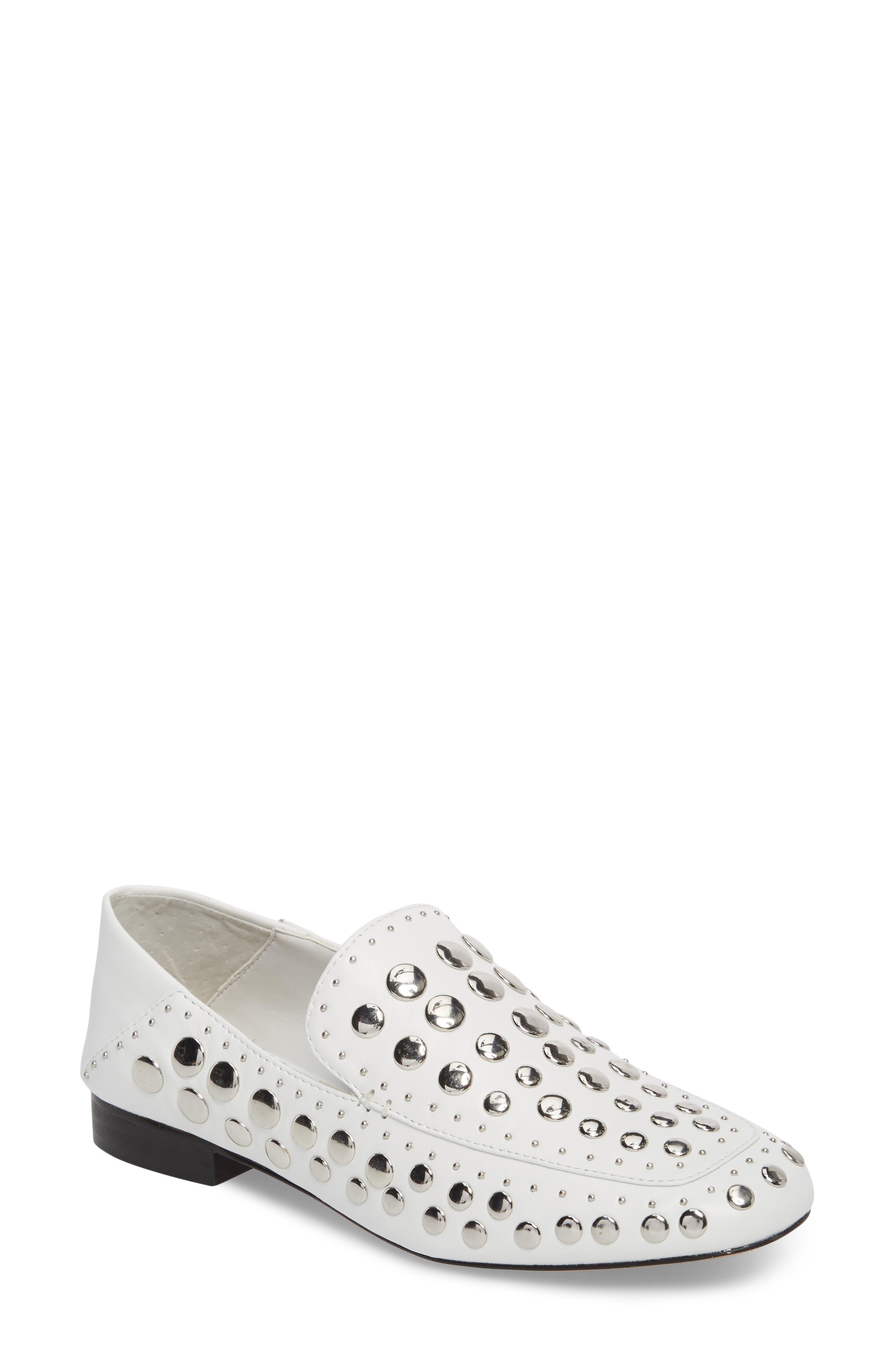 Flintia Studded Flat,                         Main,                         color, White Leather