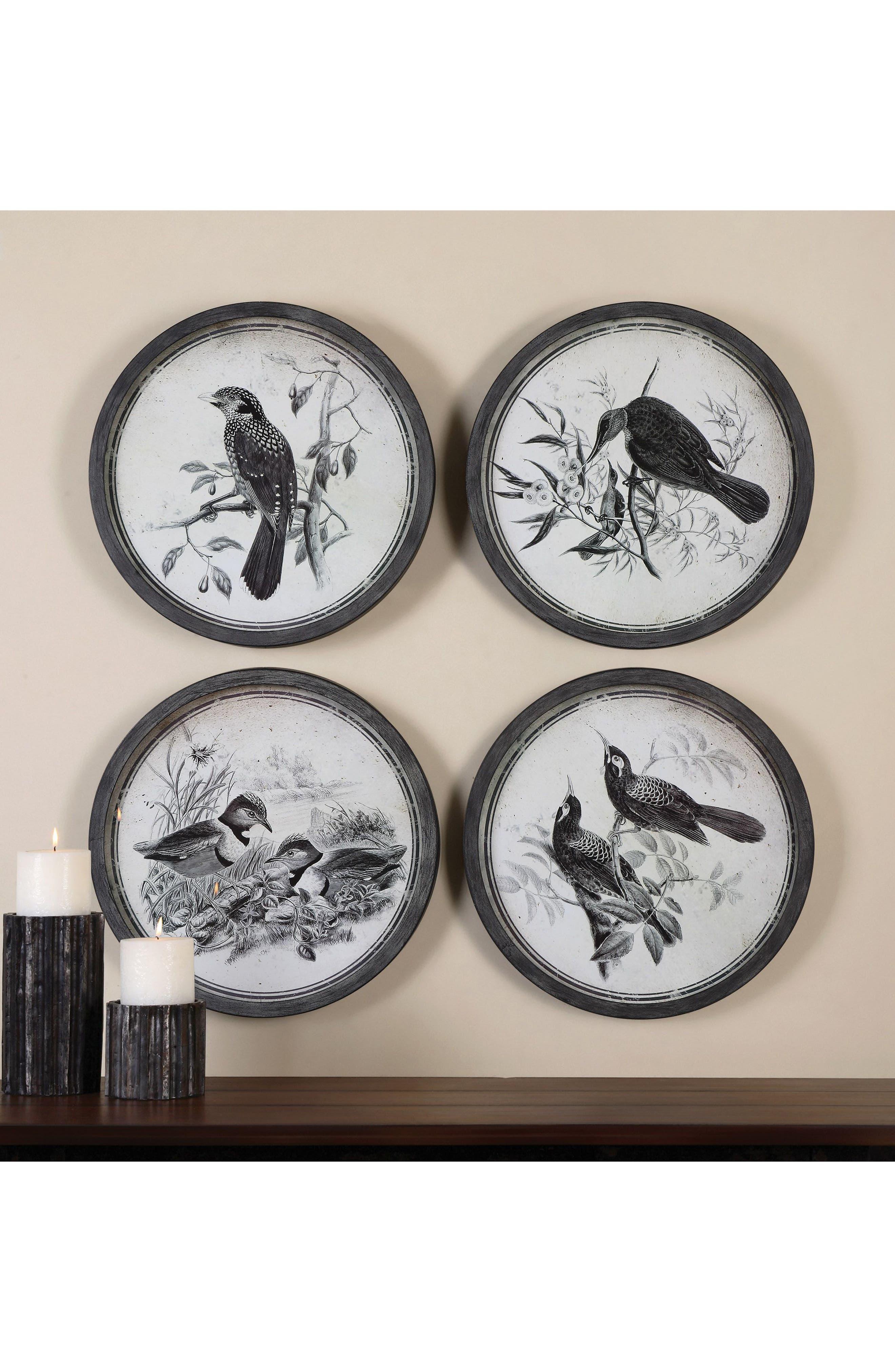 Birds In Nature 4-Piece Wall Art Set,                             Alternate thumbnail 2, color,                             Black