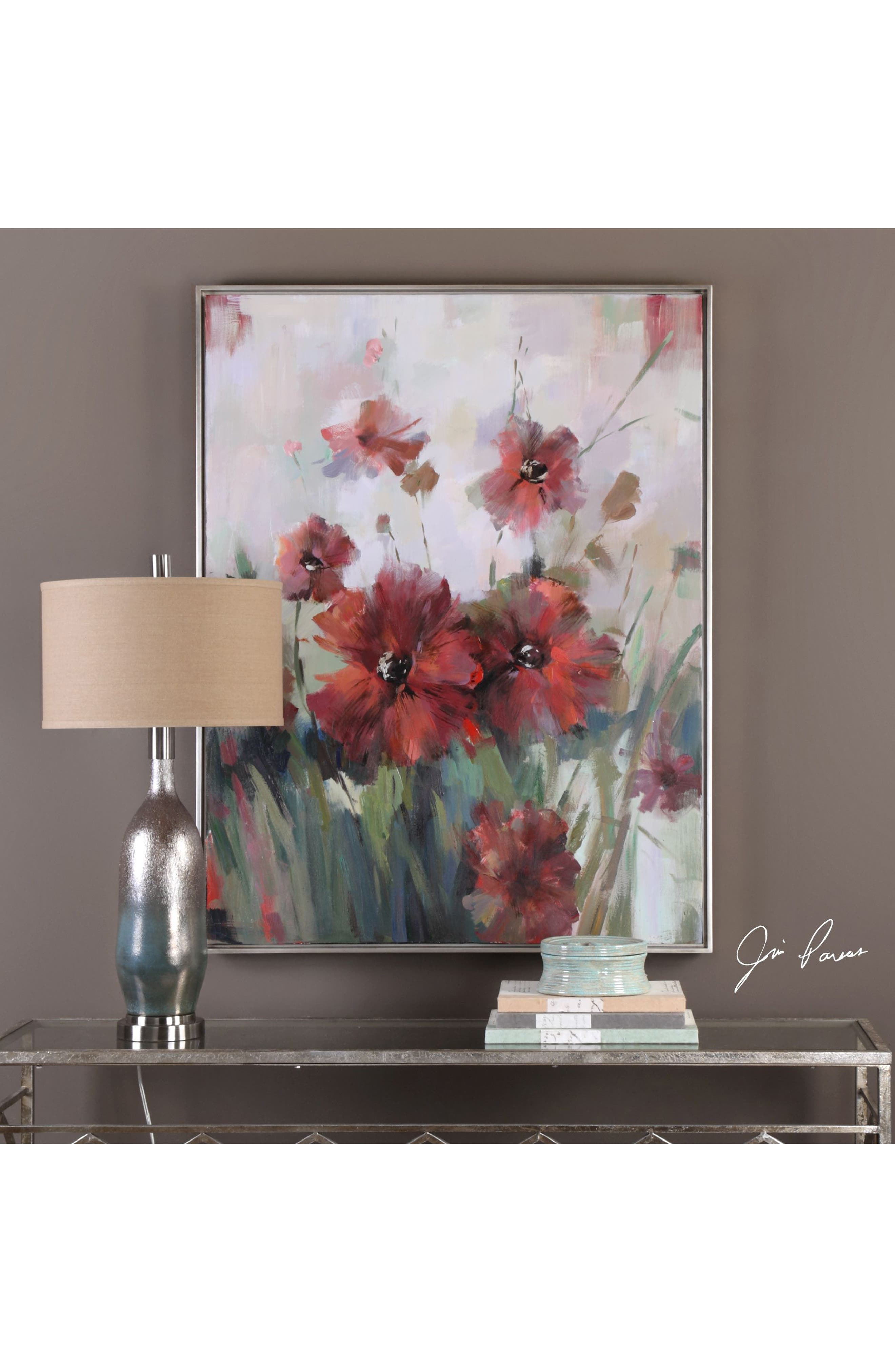 Blooming Red Canvas Wall Art,                             Alternate thumbnail 2, color,                             Burgundy
