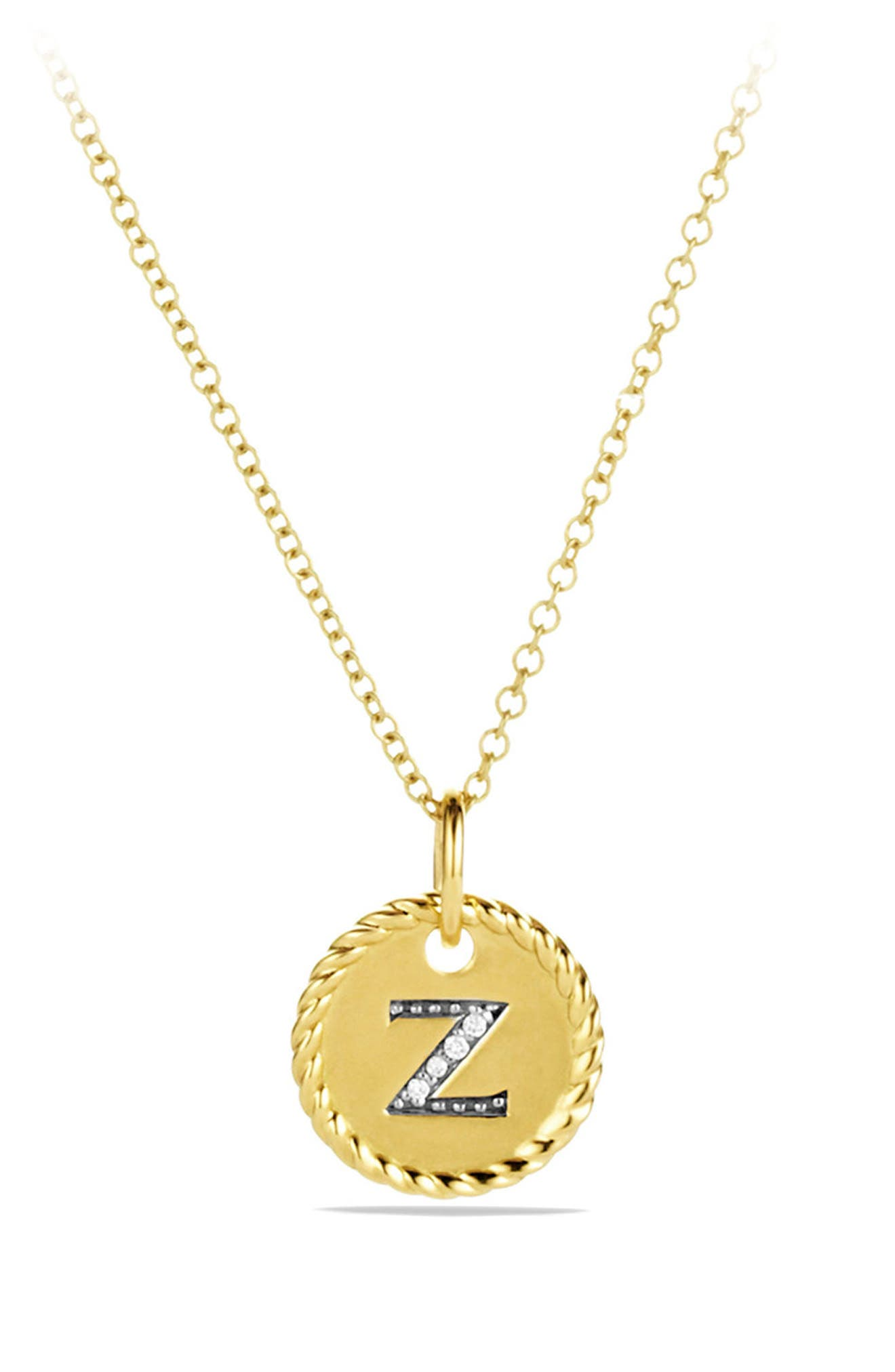 Initial Charm Necklace with Diamonds in 18K Gold,                         Main,                         color, Z