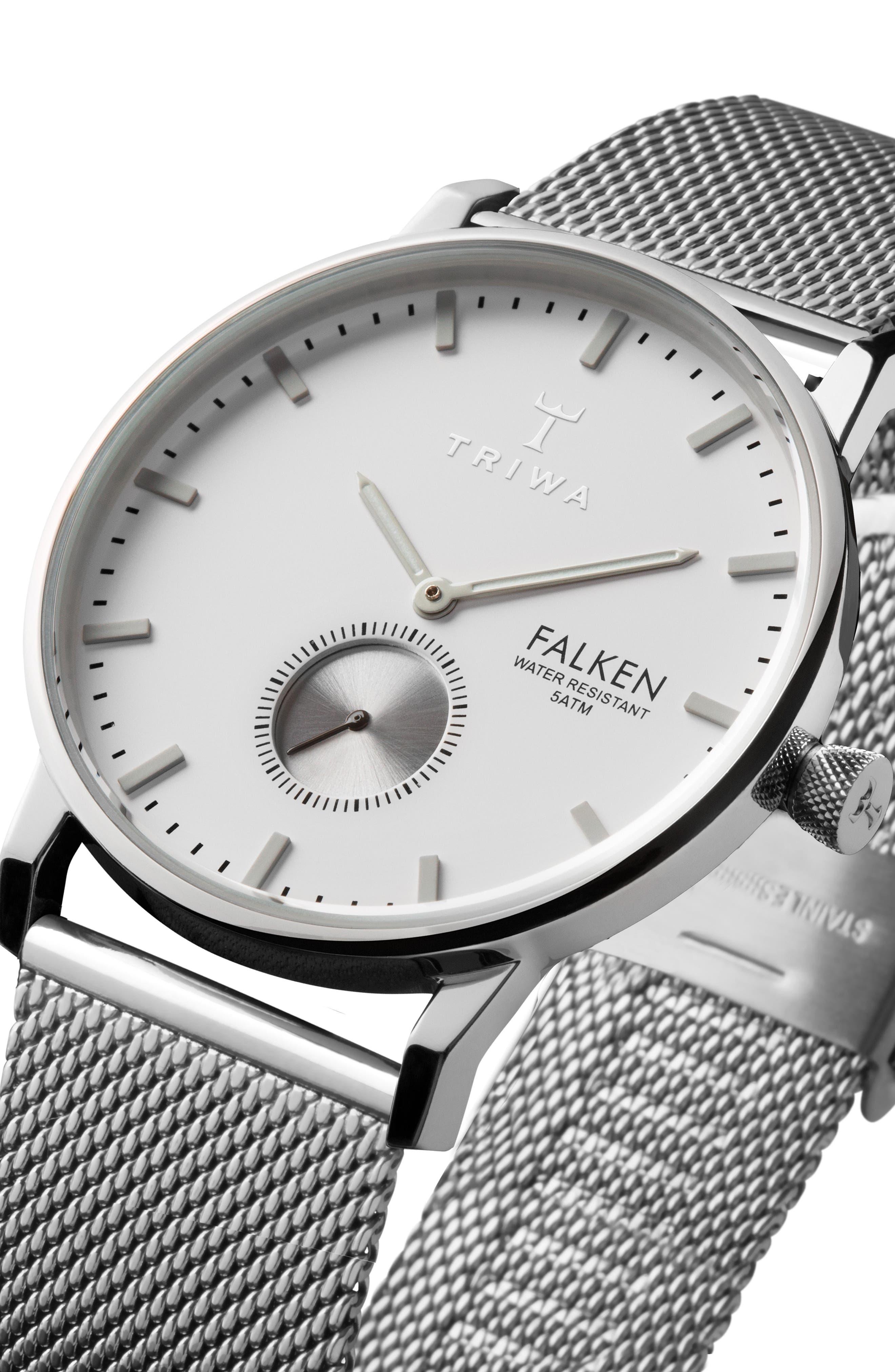 Ivory Falken Mesh Strap Watch, 38mm,                             Alternate thumbnail 2, color,                             Silver/ White/ Silver
