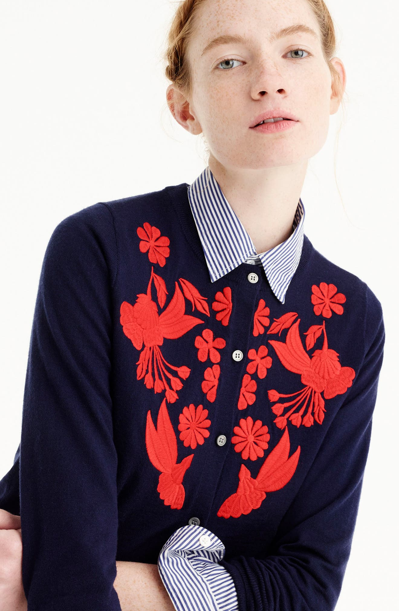 J.Crew Embroidered Lightweight Merino Wool Jackie Cardigan,                             Alternate thumbnail 3, color,                             Navy