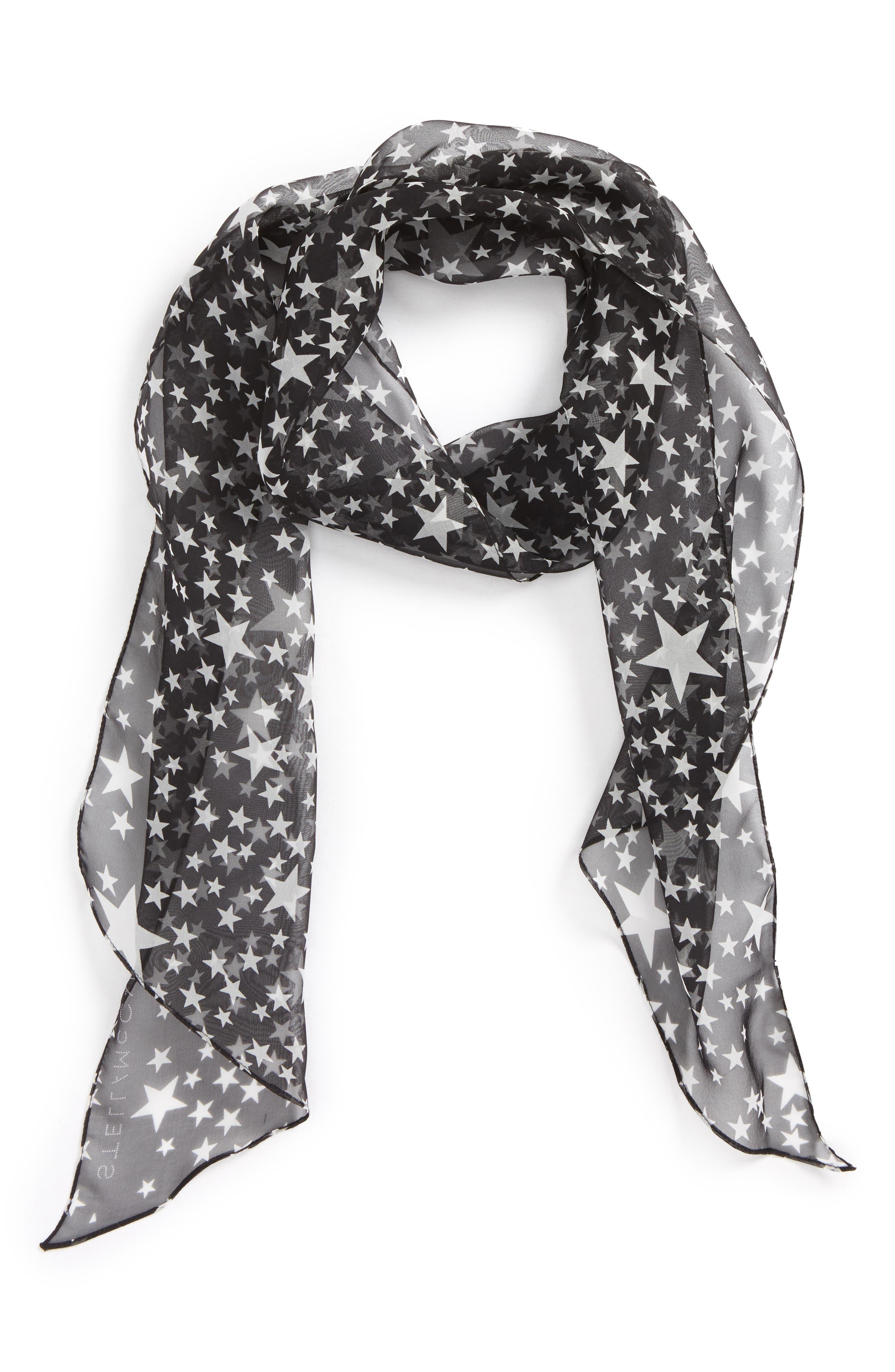 Star Print Silk Skinny Scarf,                             Main thumbnail 1, color,                             Black
