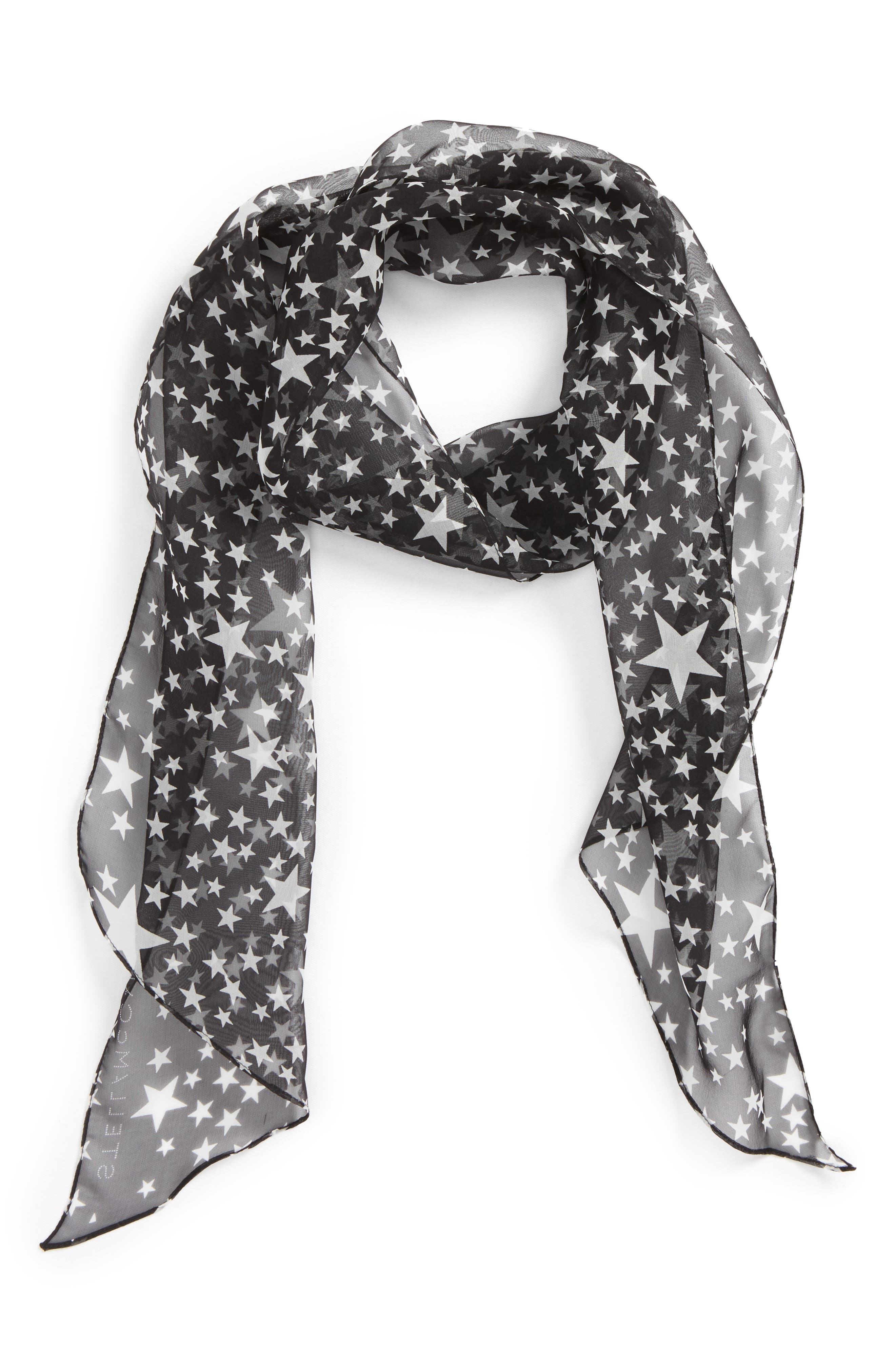 Stella McCartney Star Print Silk Skinny Scarf