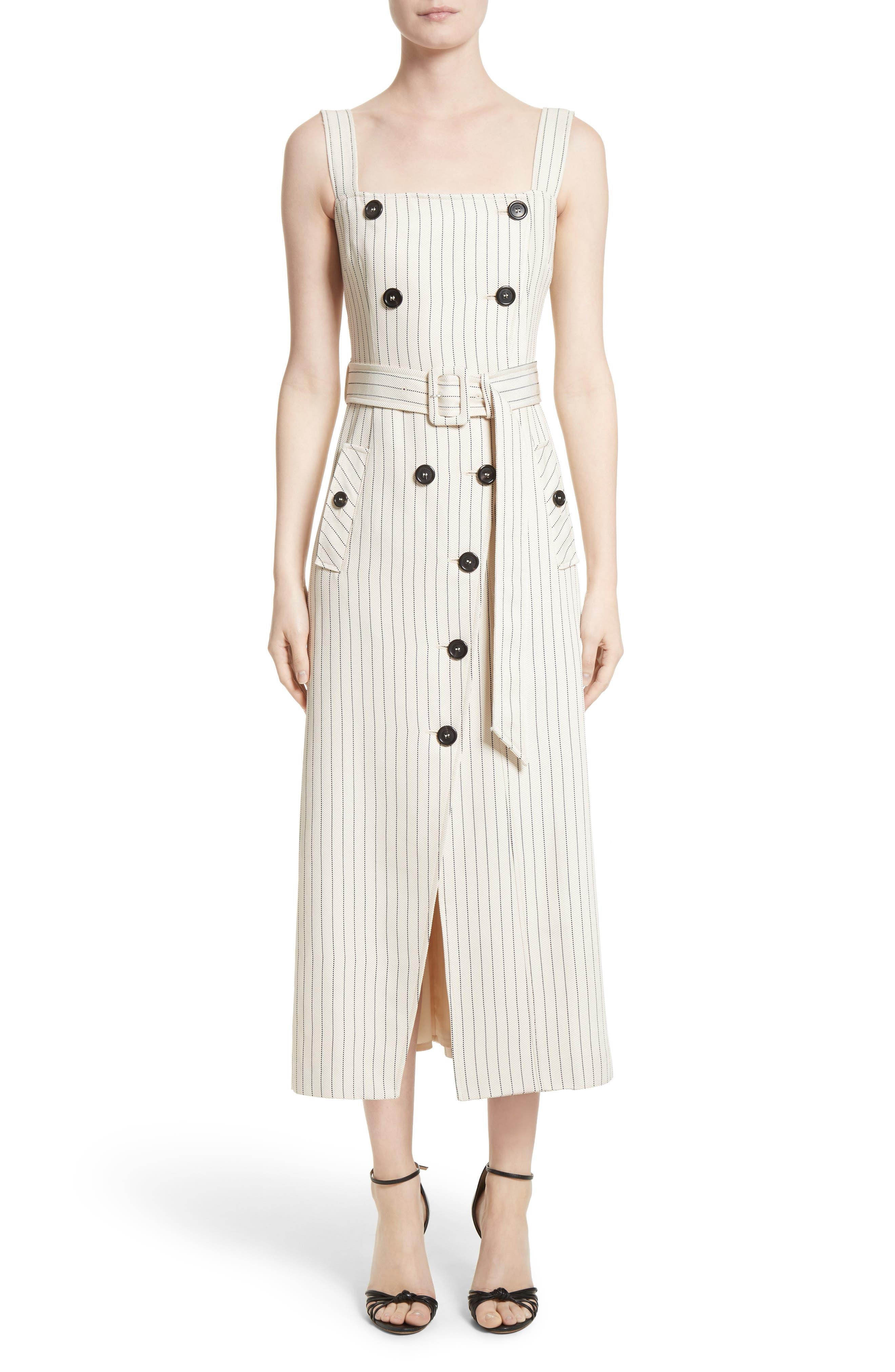Main Image - Altuzarra Audrey Button Detail Pinstripe Dress