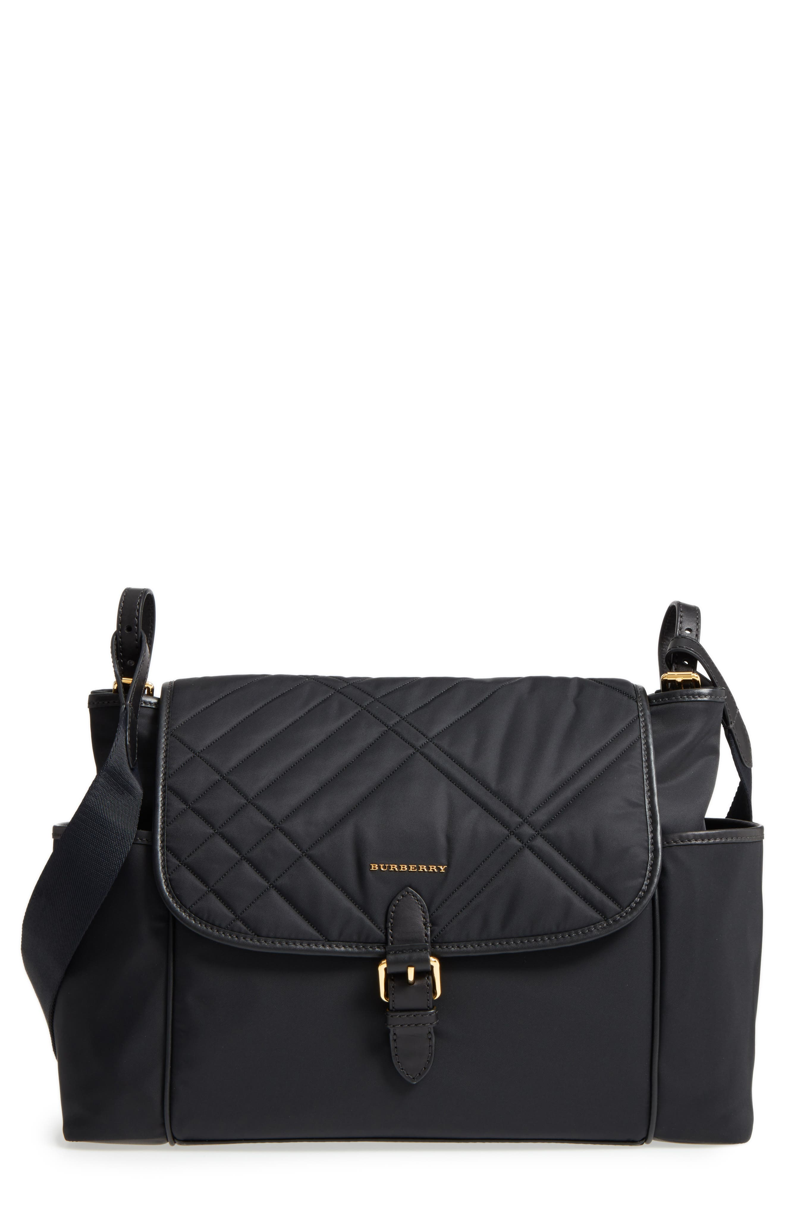 Check Quilted Flap Diaper Bag,                         Main,                         color, Black