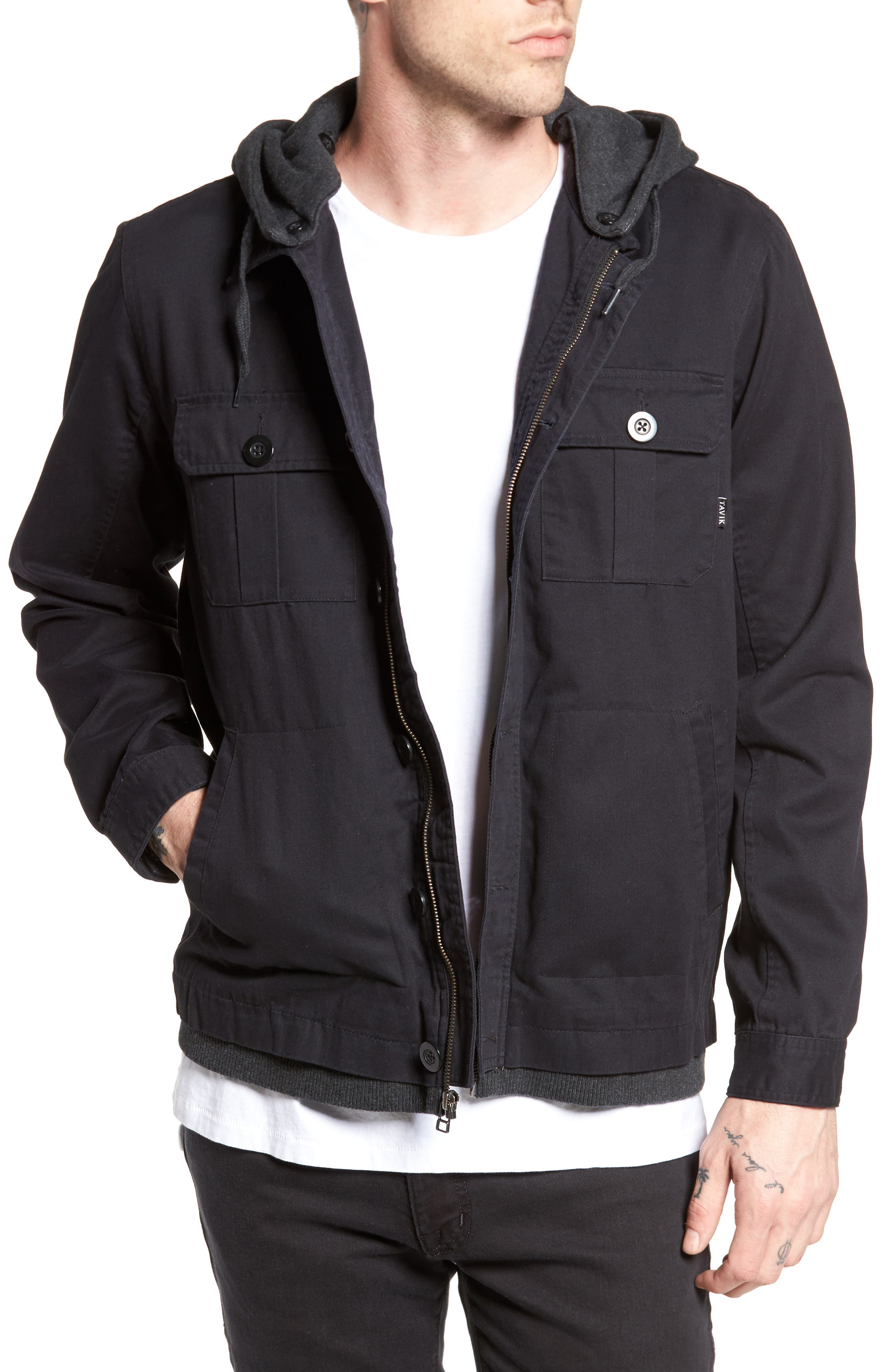 Droogs Field Jacket with Detachable Hood,                             Main thumbnail 1, color,                             Grey/ Heather Grey