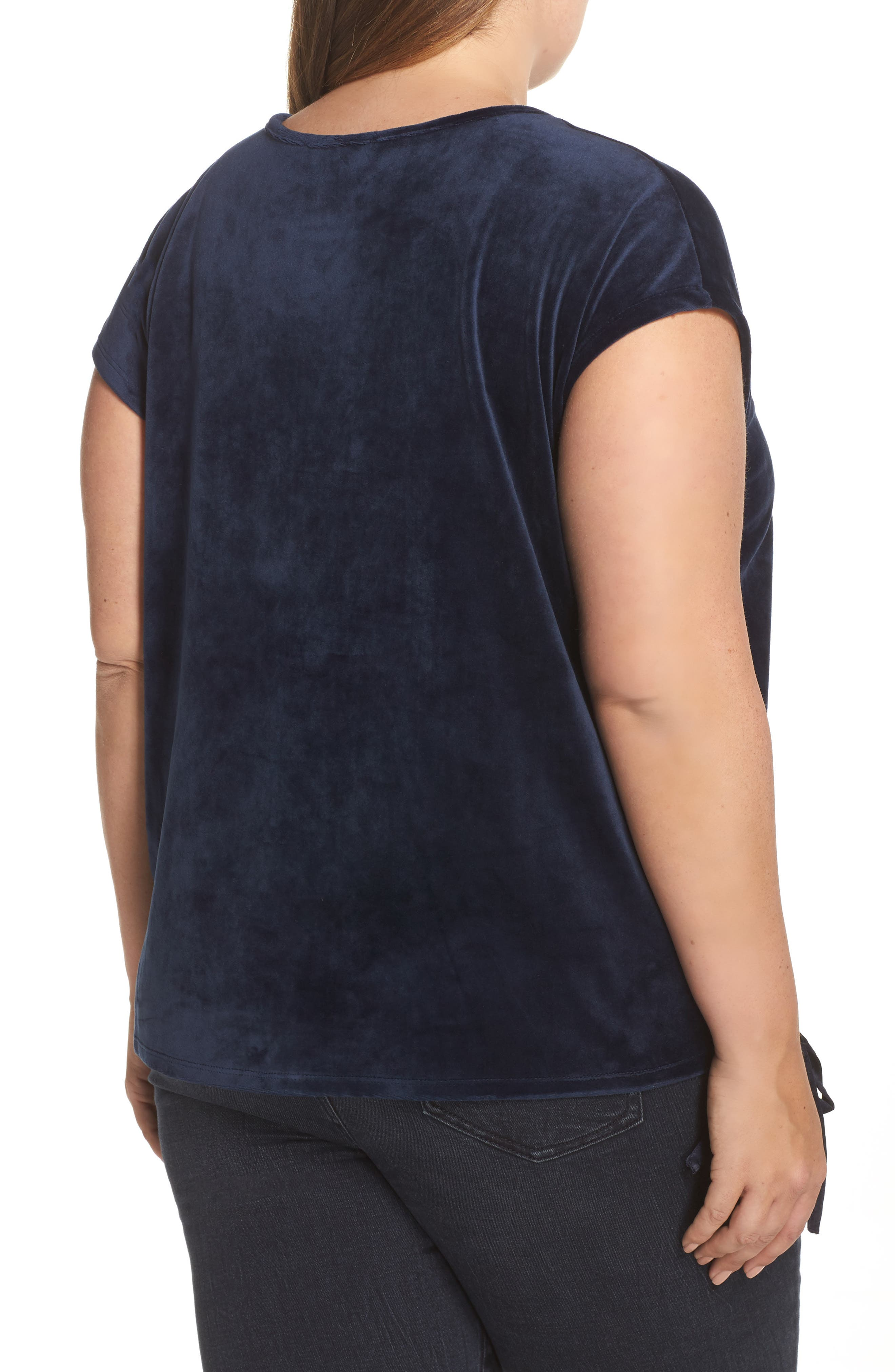 Alternate Image 2  - Two by Vince Camuto Side Tie Velour Top (Plus Size)