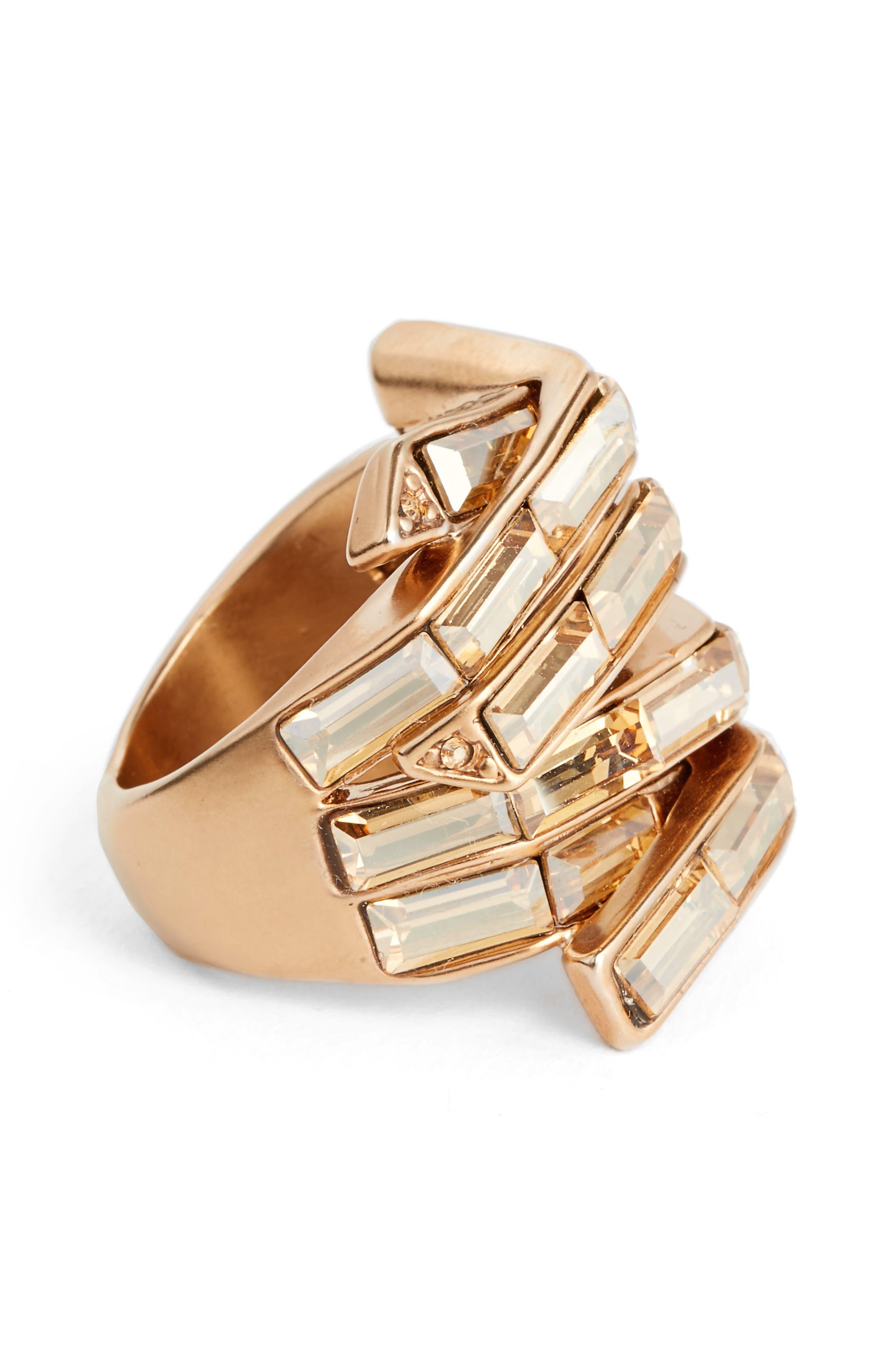 Swarovski Crystal Cocktail Ring,                             Alternate thumbnail 2, color,                             Rose Gold