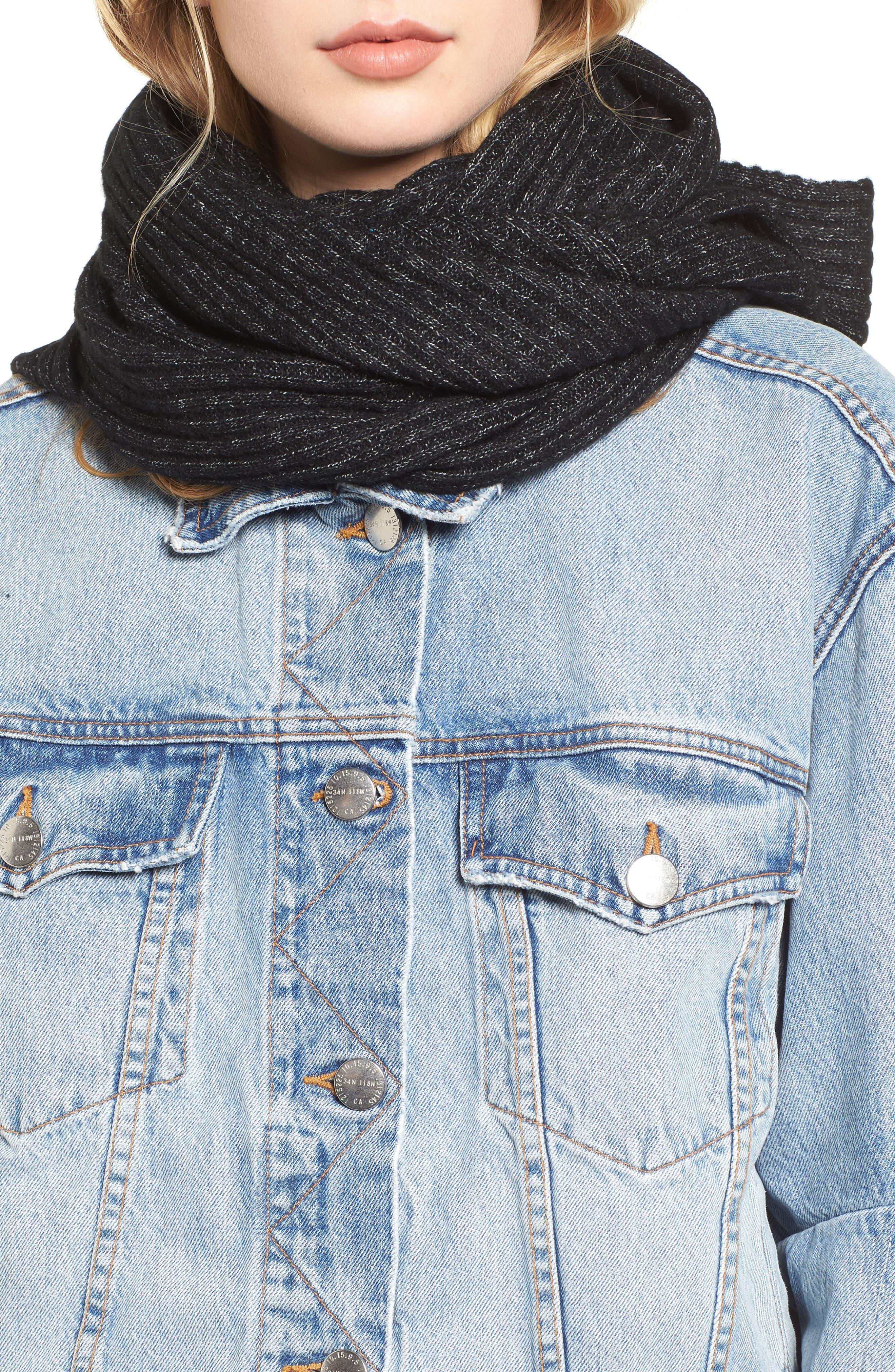 Bottom Line Hooded Rib Knit Wrap,                             Alternate thumbnail 3, color,                             Black