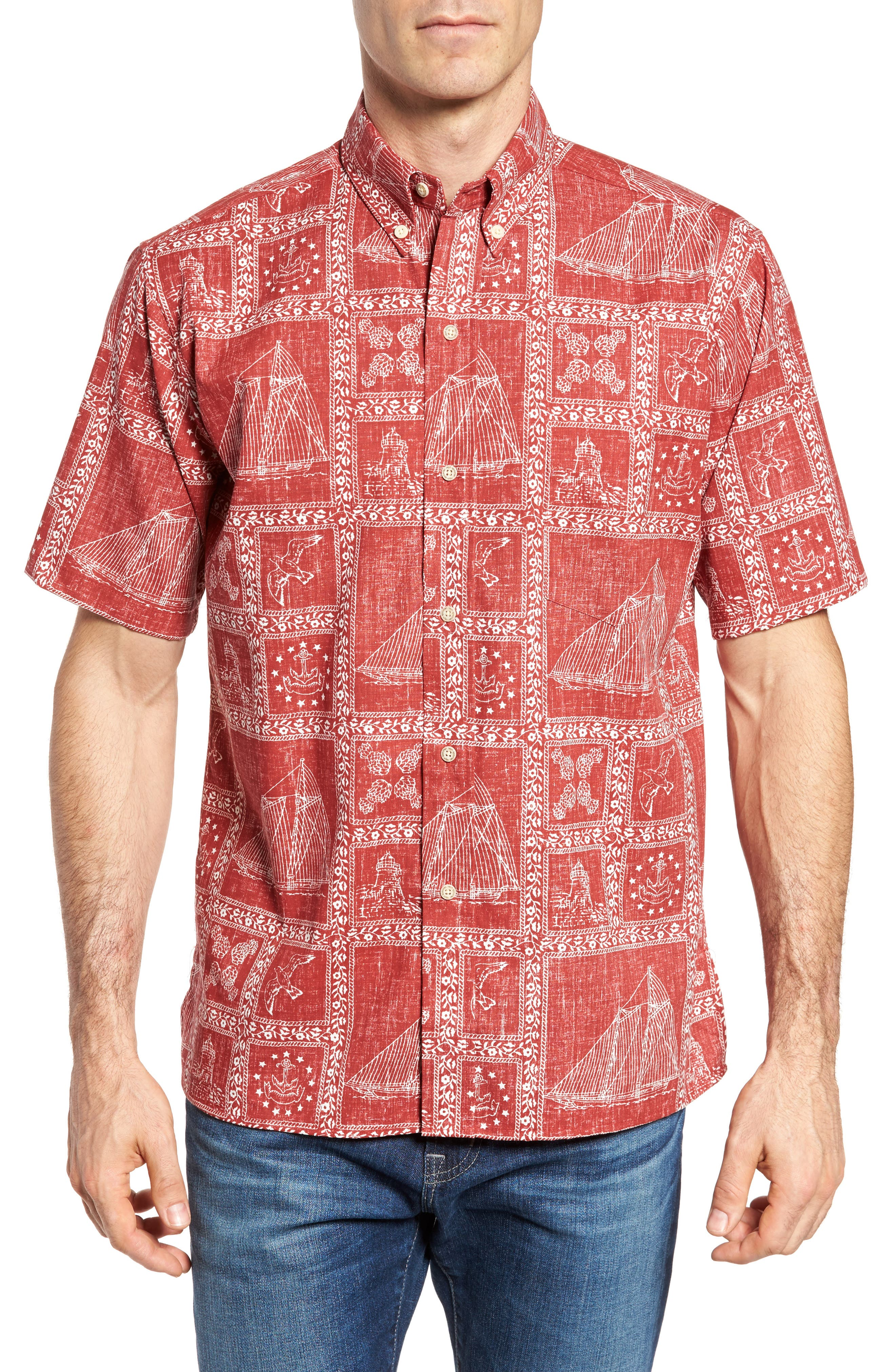 Newport Sailor Classic Fit Print Sport Shirt,                             Main thumbnail 1, color,                             Red