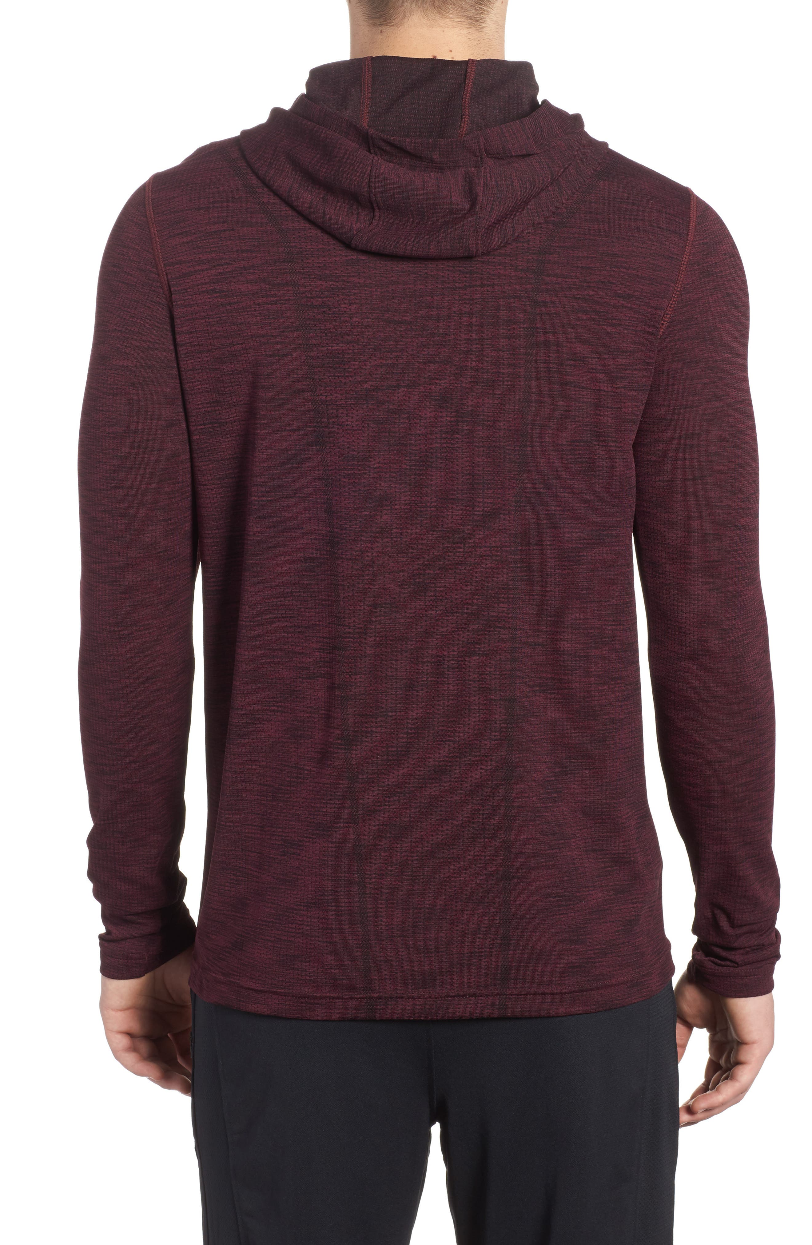 Threadbone Fitted Seamless Hoodie,                             Alternate thumbnail 2, color,                             Raisin Red / Stealth Grey