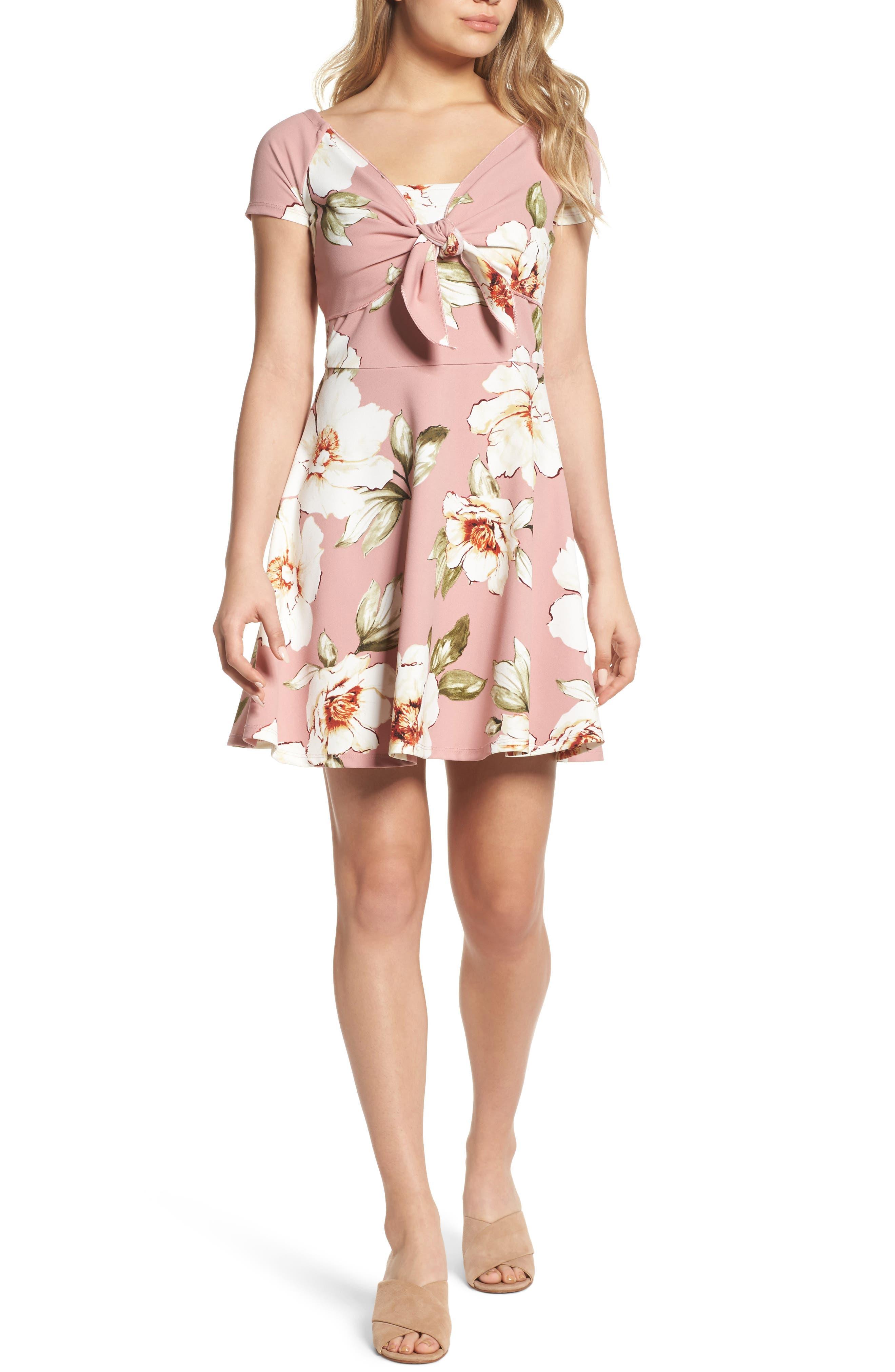 Tie Front Crepe Fit & Flare Dress,                         Main,                         color, Mauve