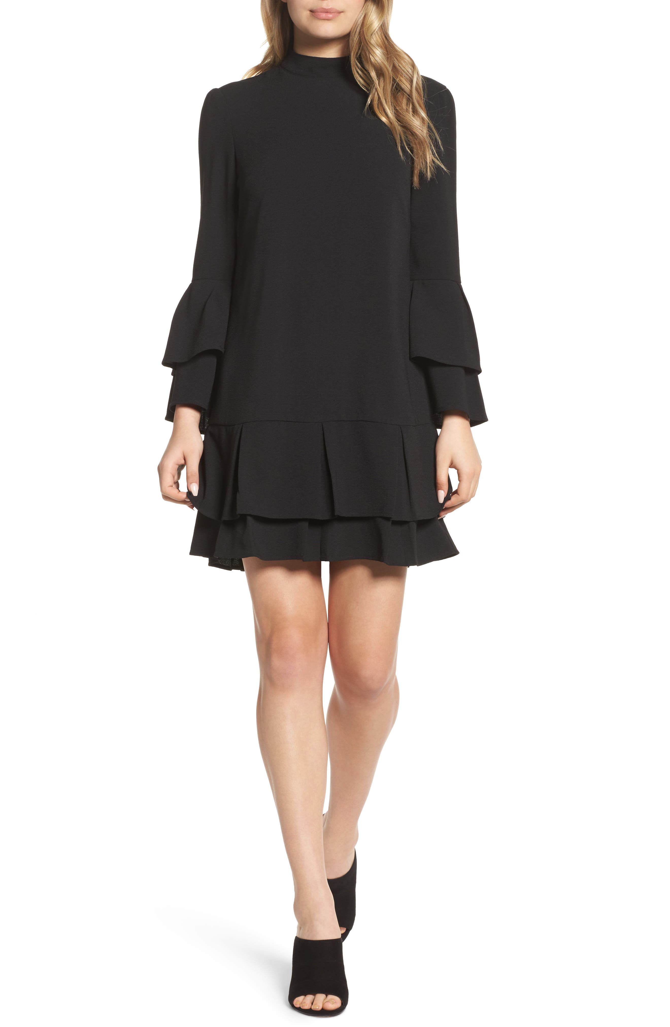 Tiered Sleeve Shift Dress,                         Main,                         color, Black