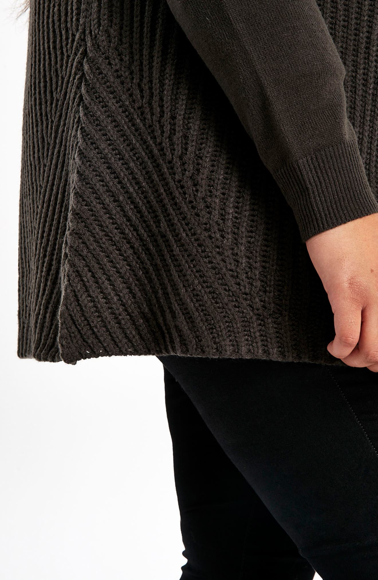 Alternate Image 4  - Evans Ribbed Waterfall Cardigan (Plus Size)