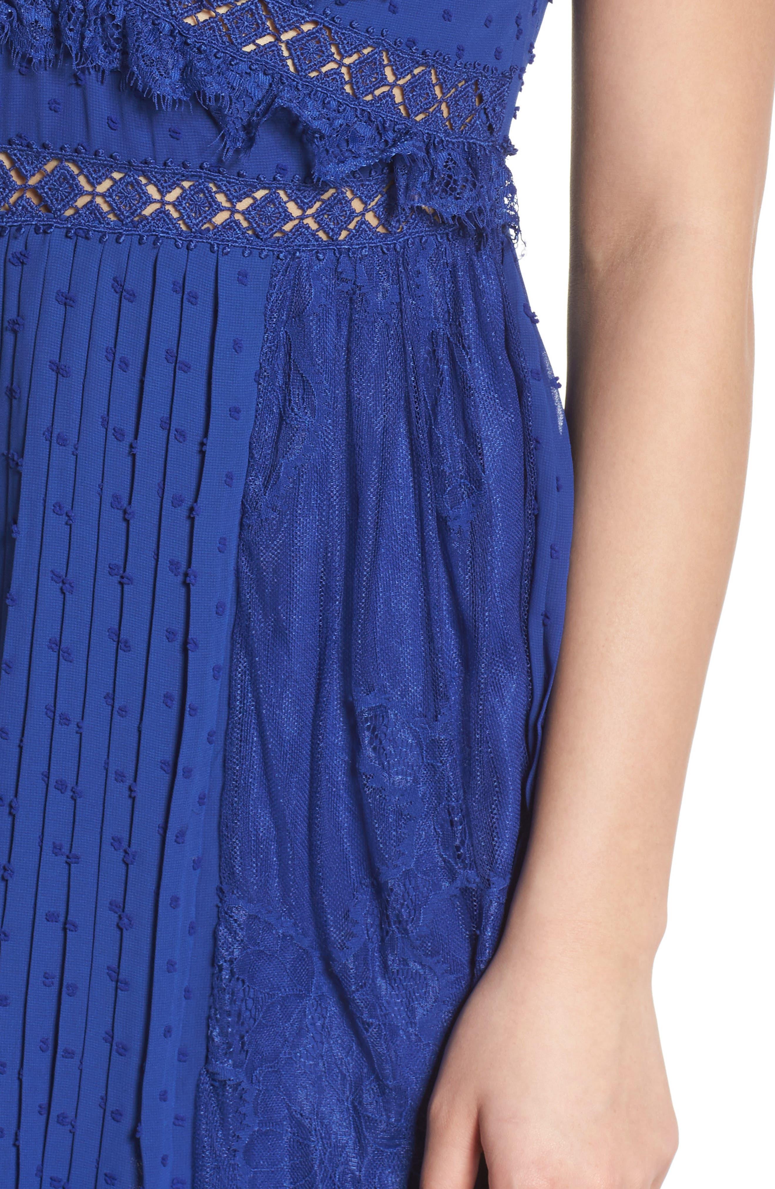 Babette Lace Inset Party Dress,                             Alternate thumbnail 4, color,                             Navy