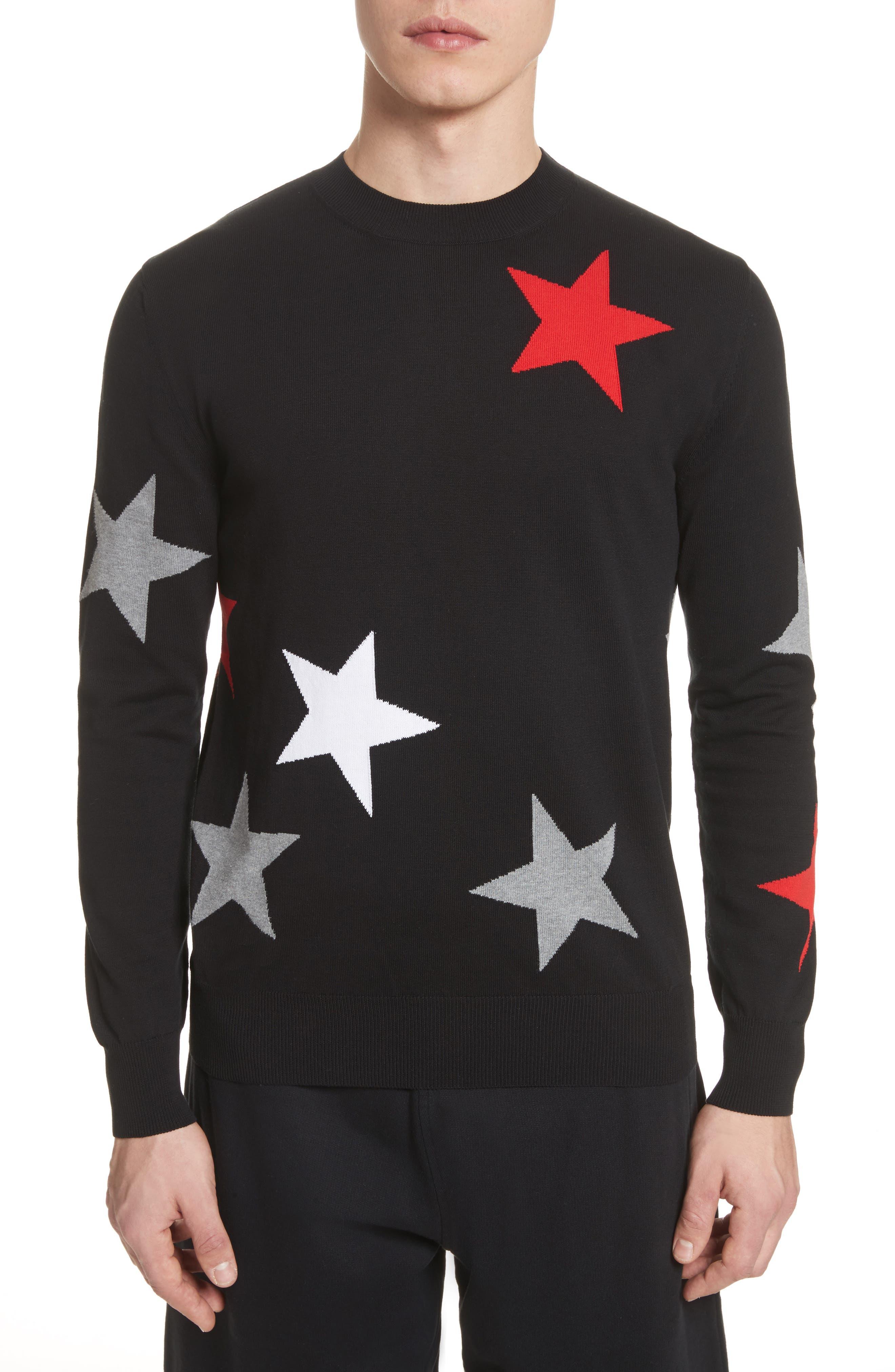 Star Crewneck Sweater,                         Main,                         color, Black