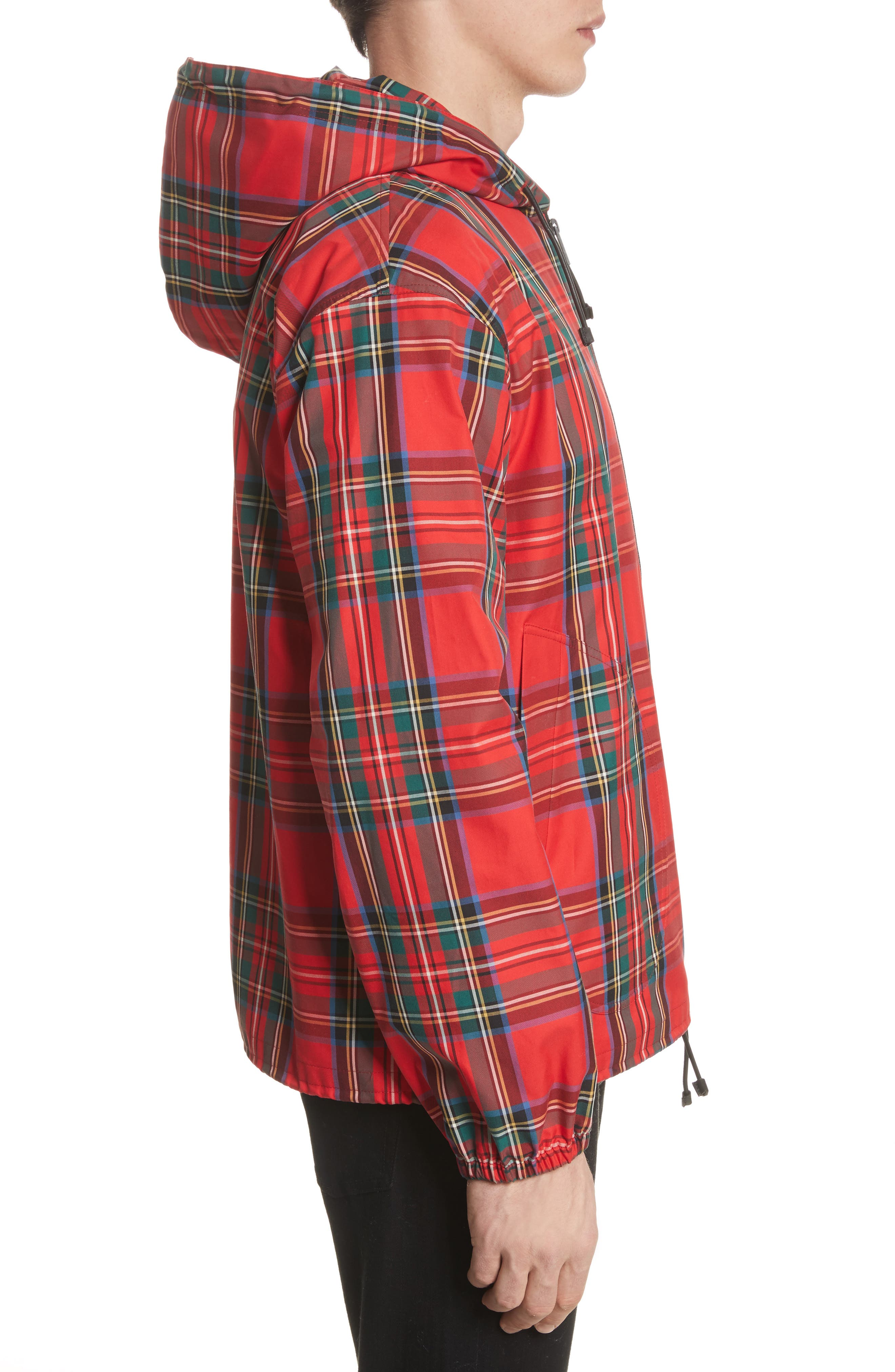 Tartan Twill Hooded Jacket,                             Alternate thumbnail 3, color,                             Bright Red