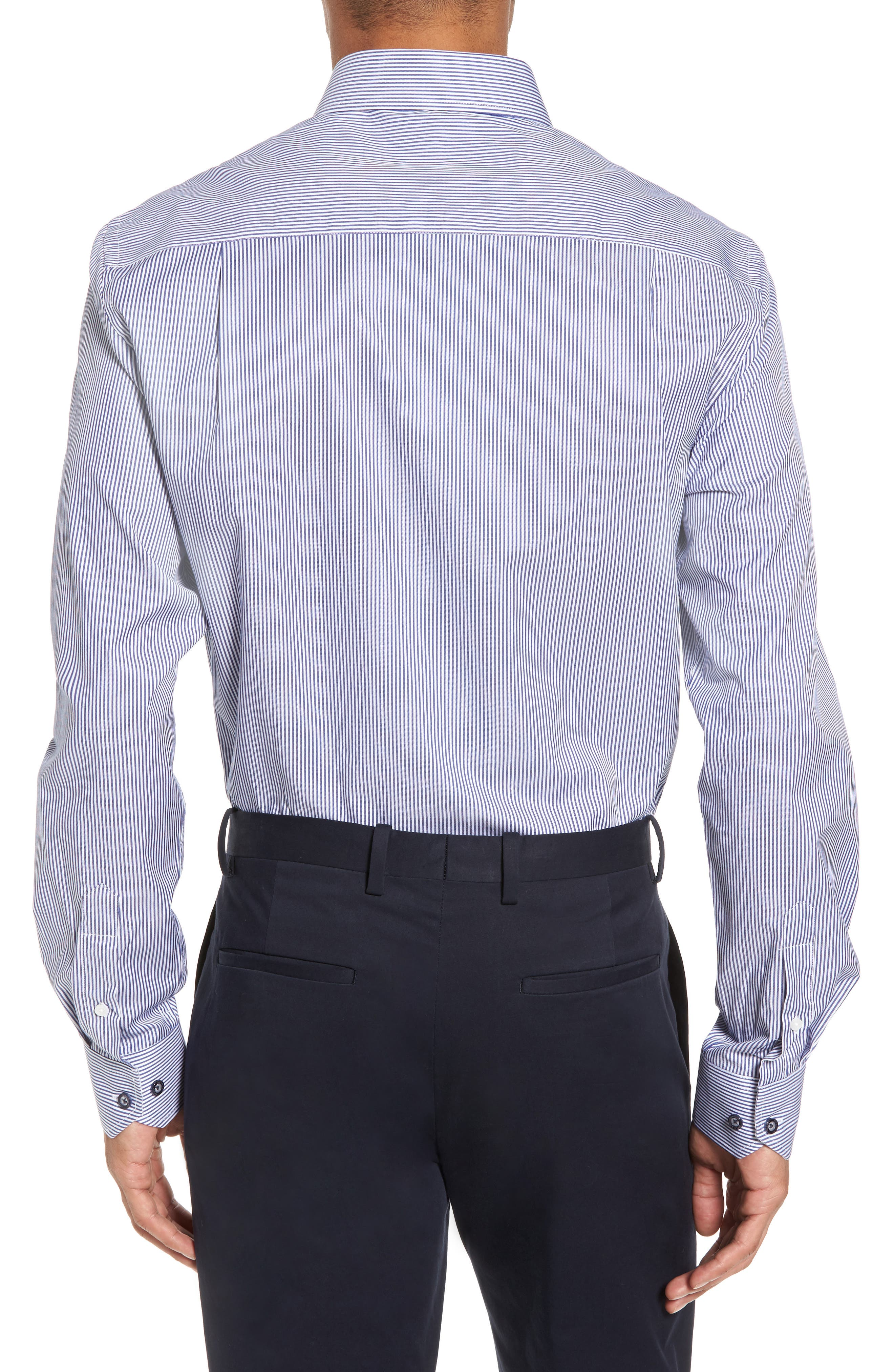 Trim Fit Stripe Dress Shirt,                             Alternate thumbnail 2, color,                             Navy
