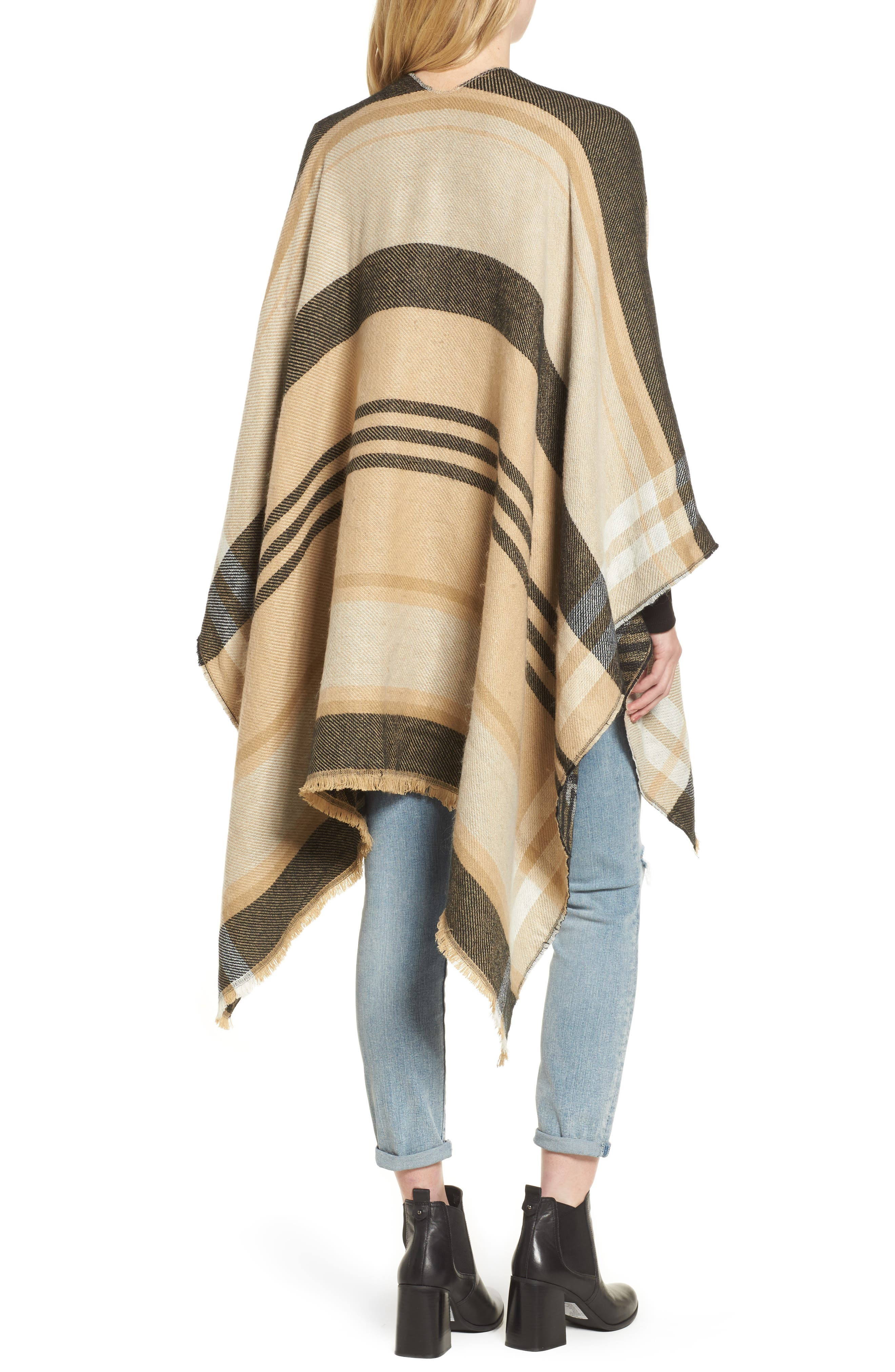 Stripe Woven Cape,                             Alternate thumbnail 2, color,                             Tan Multi