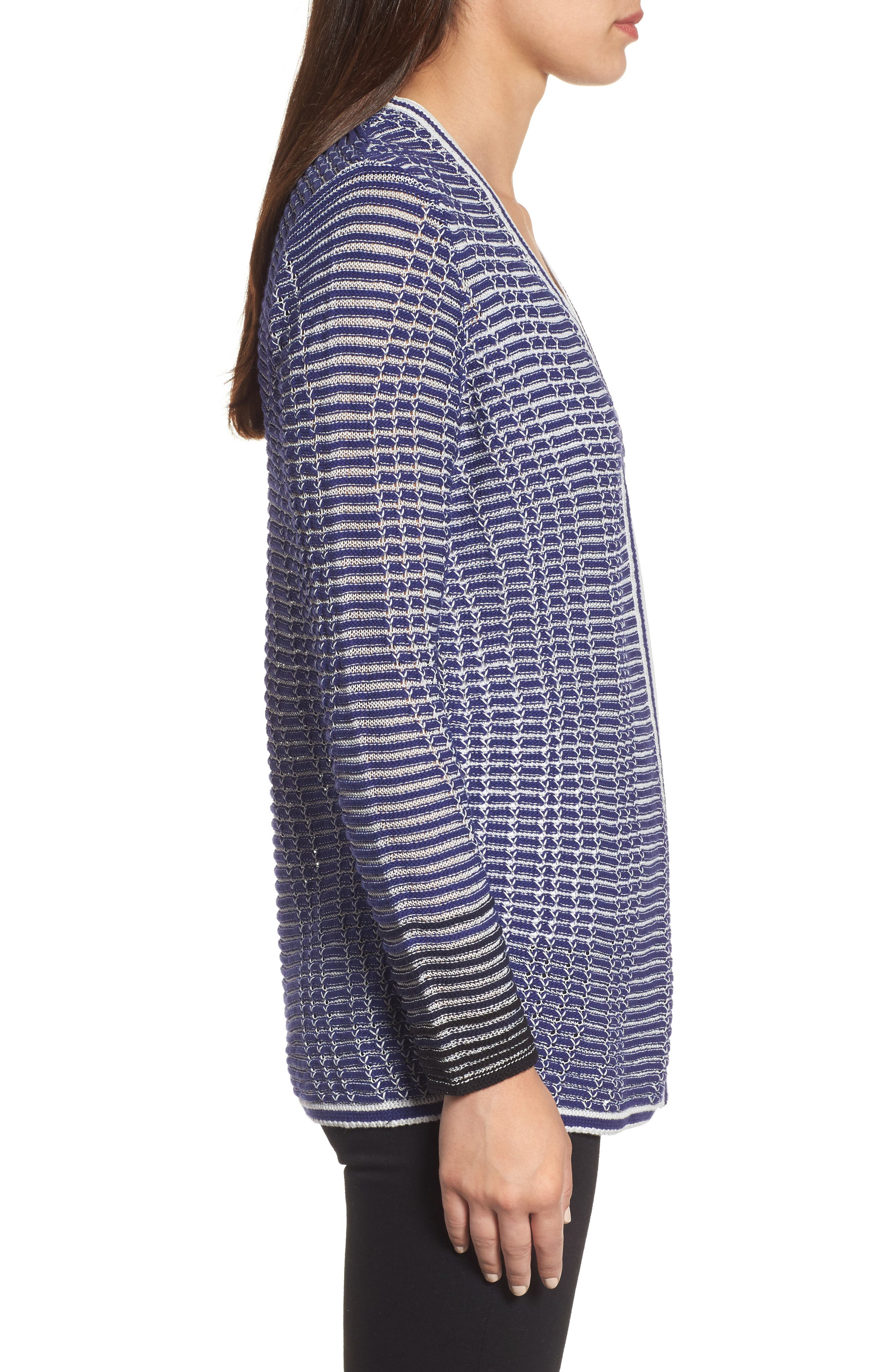 Striped Space Cardigan,                             Alternate thumbnail 3, color,                             Electric Blue