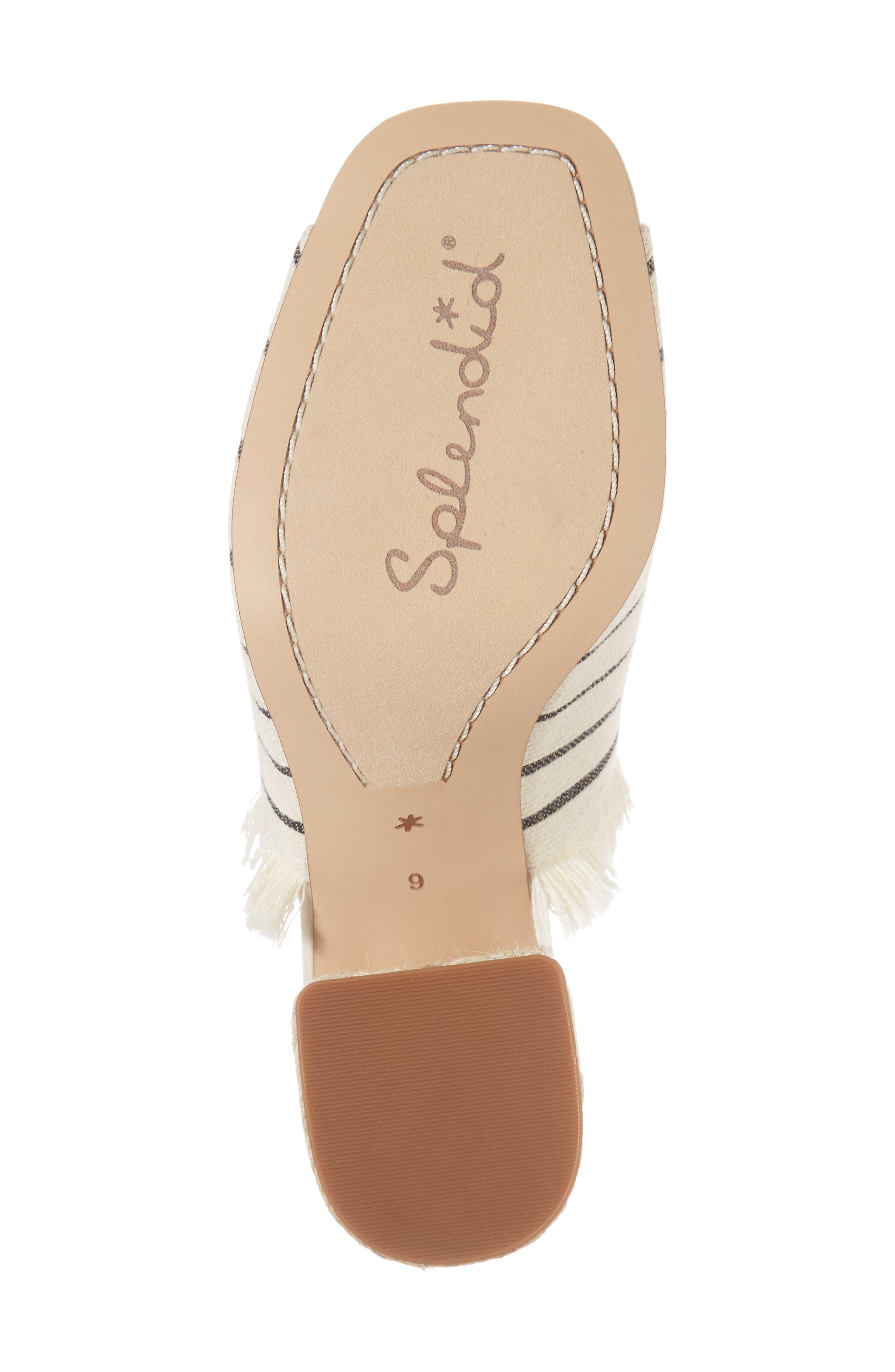 Baron Fringed Block Heel Slide,                             Alternate thumbnail 6, color,                             Cream Leather