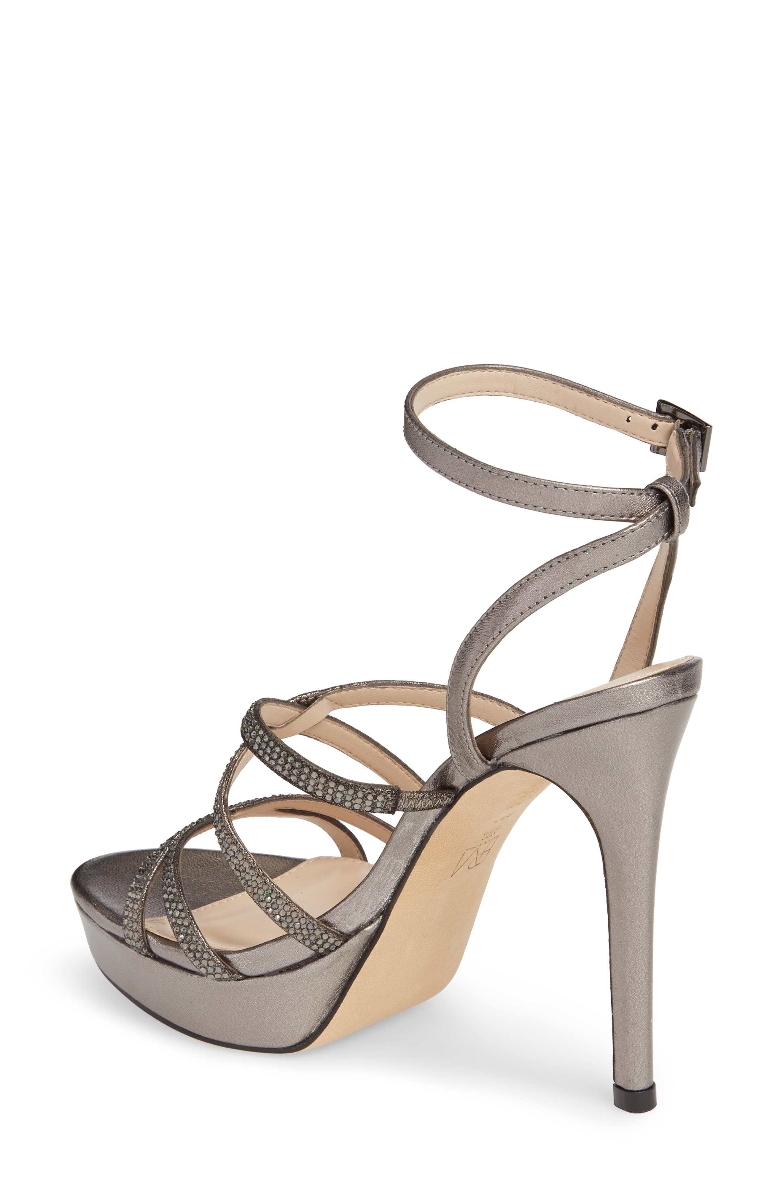 Oak Platform Sandal,                             Alternate thumbnail 2, color,                             Pewter Metallic Suede