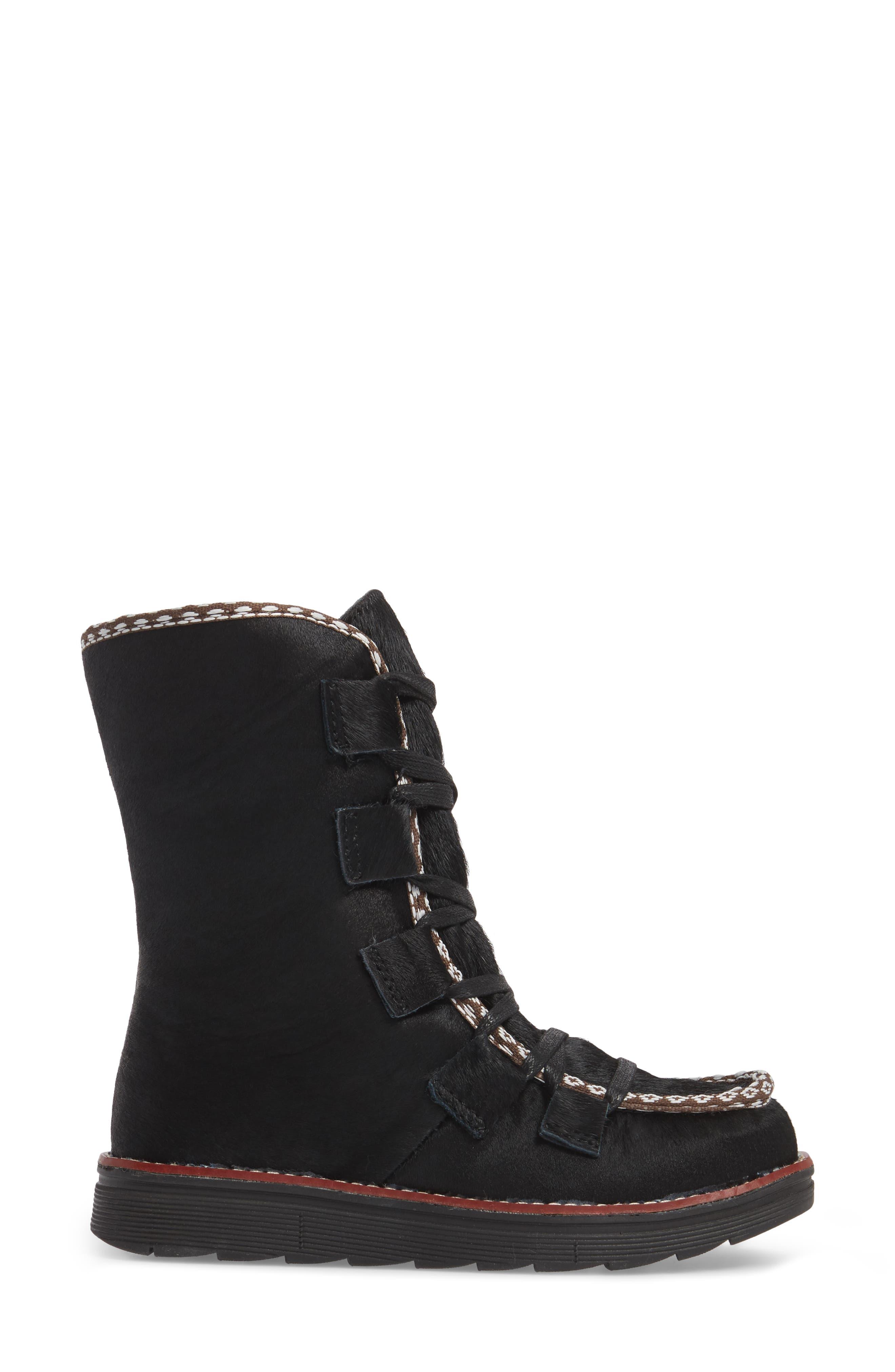 Kitchener Waterproof Genuine Calf Hair Snow Boot,                             Alternate thumbnail 3, color,                             Black