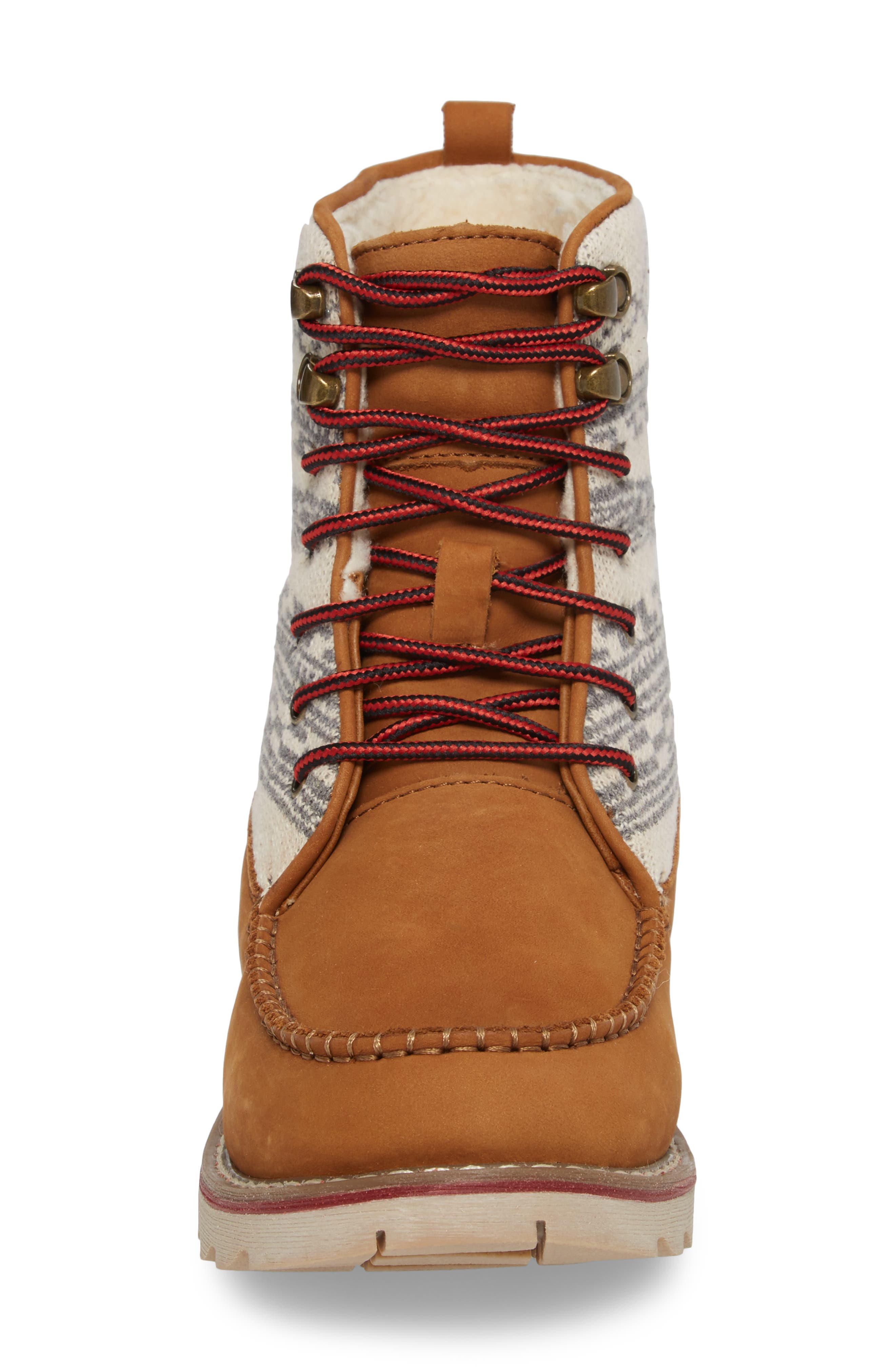 Patterned Waterproof Snow Boot,                             Alternate thumbnail 4, color,                             Tan Leather