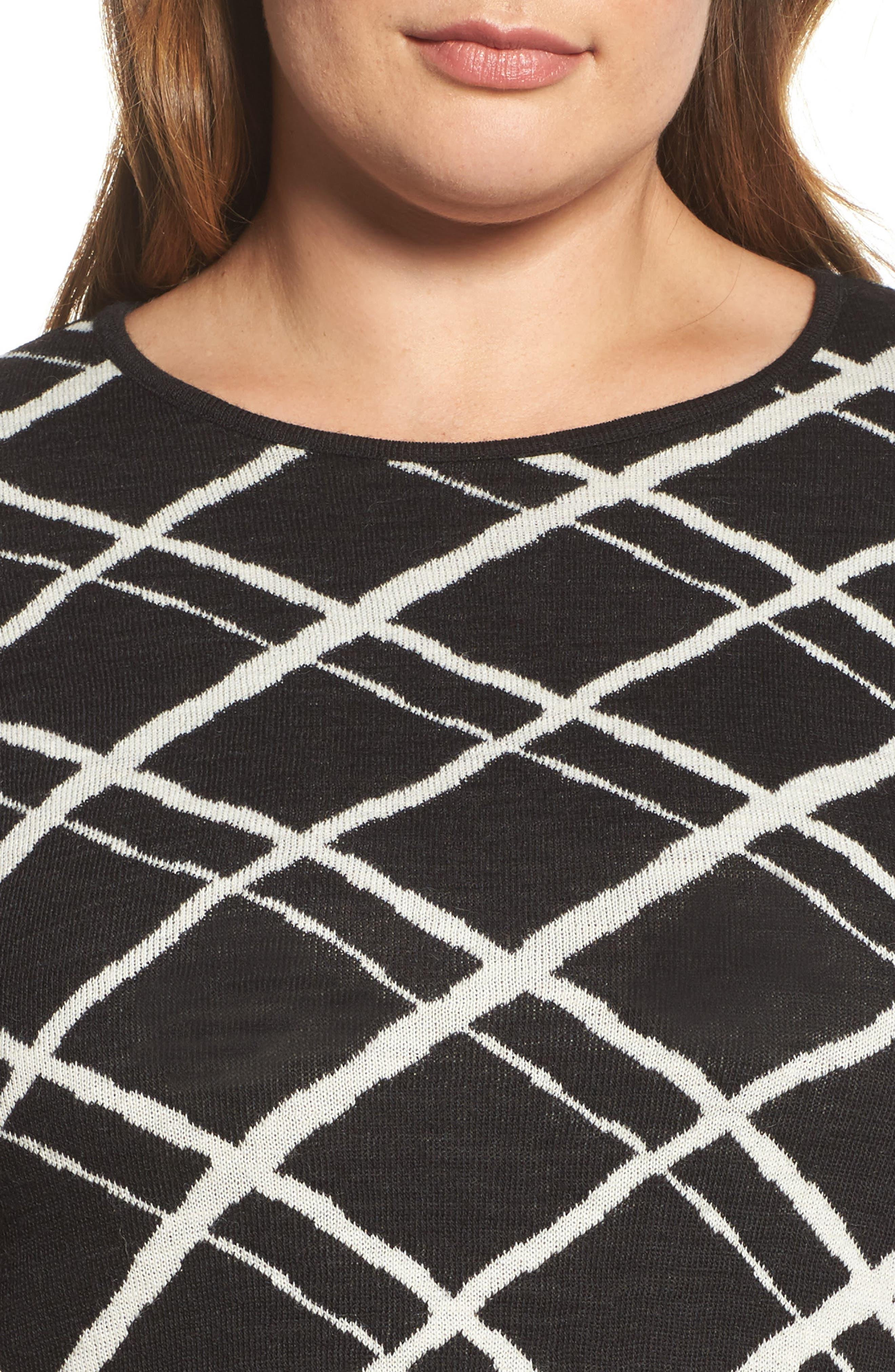 Alternate Image 4  - Persona by Marina Rinaldi Genesi Checkered Knit Dress (Plus Size)