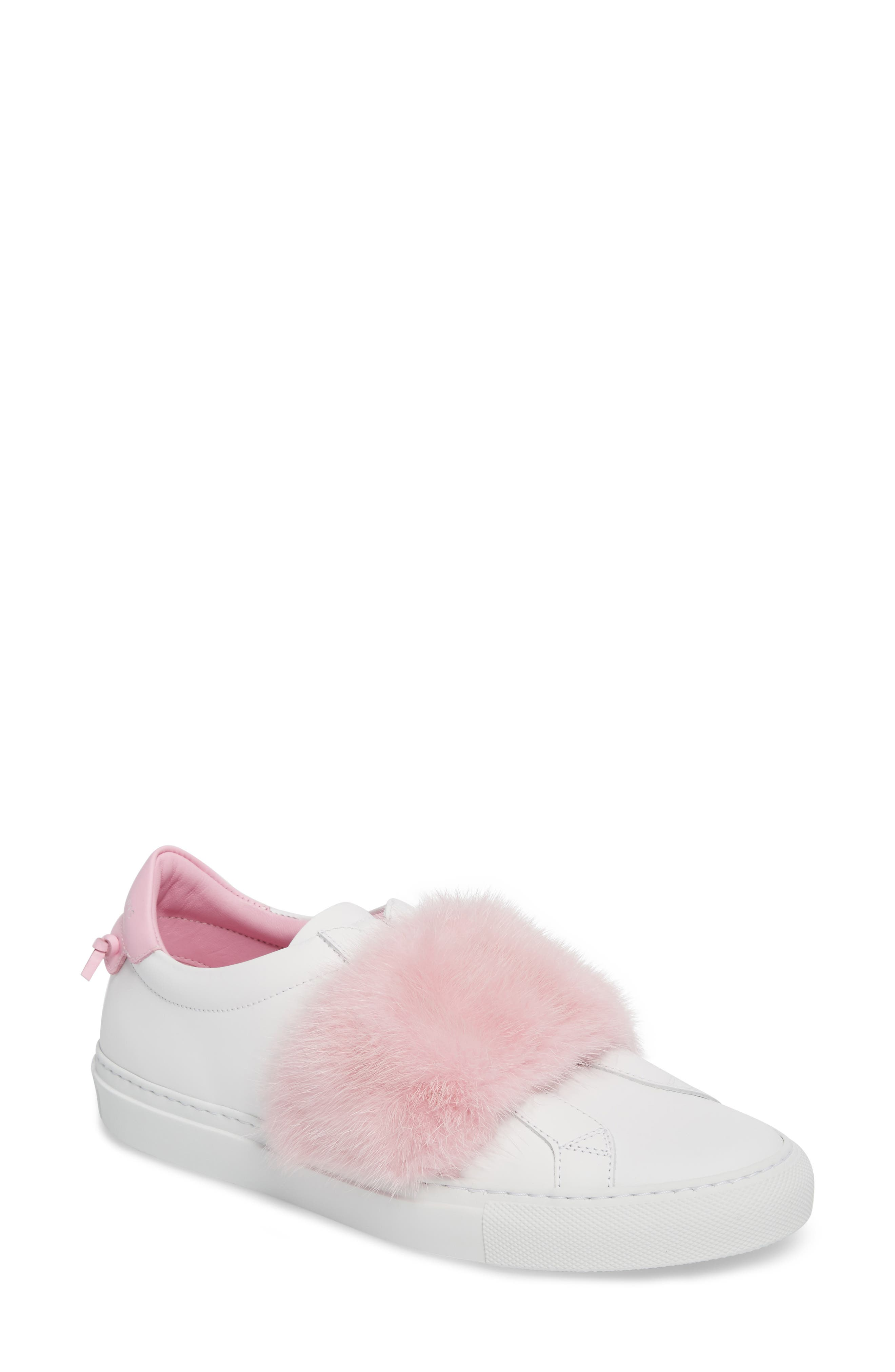 Urban Street Slip-On Sneaker with Genuine Mink Fur Trim,                             Main thumbnail 1, color,                             White/ Pink