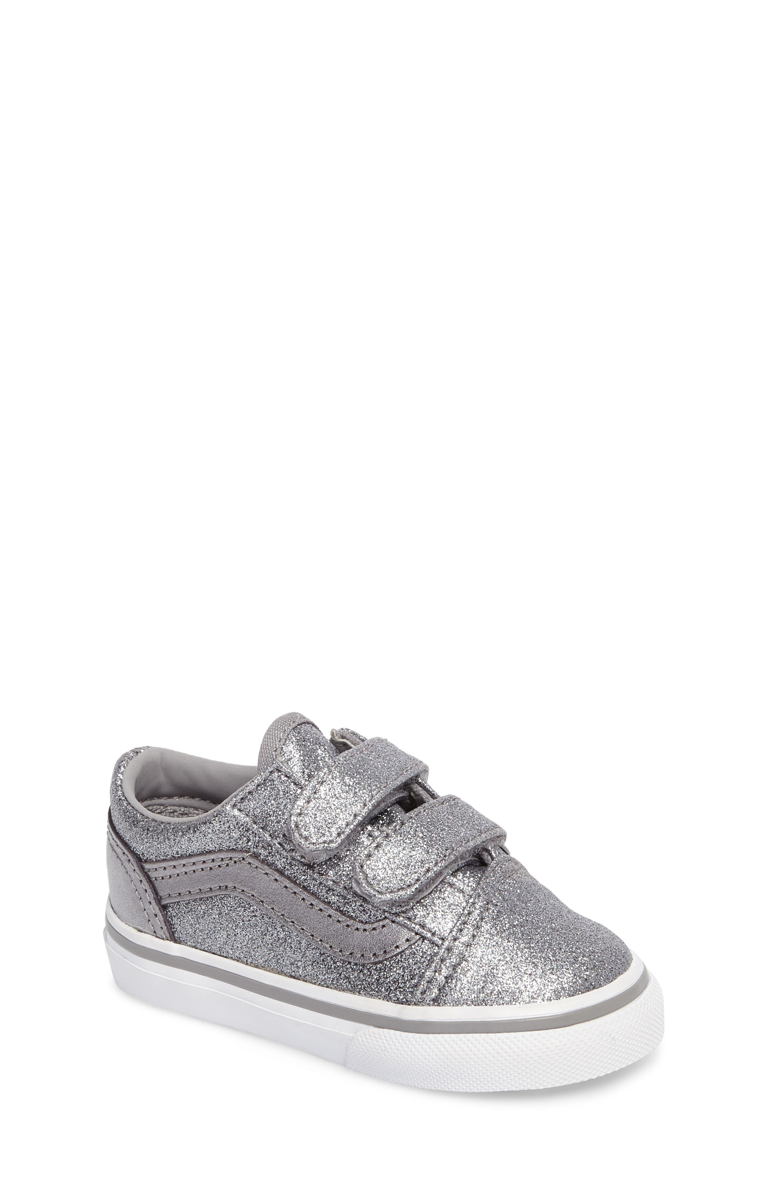 Old Skool V Glitter Sneaker,                             Main thumbnail 1, color,                             Glitter  Metallic Frost Gray