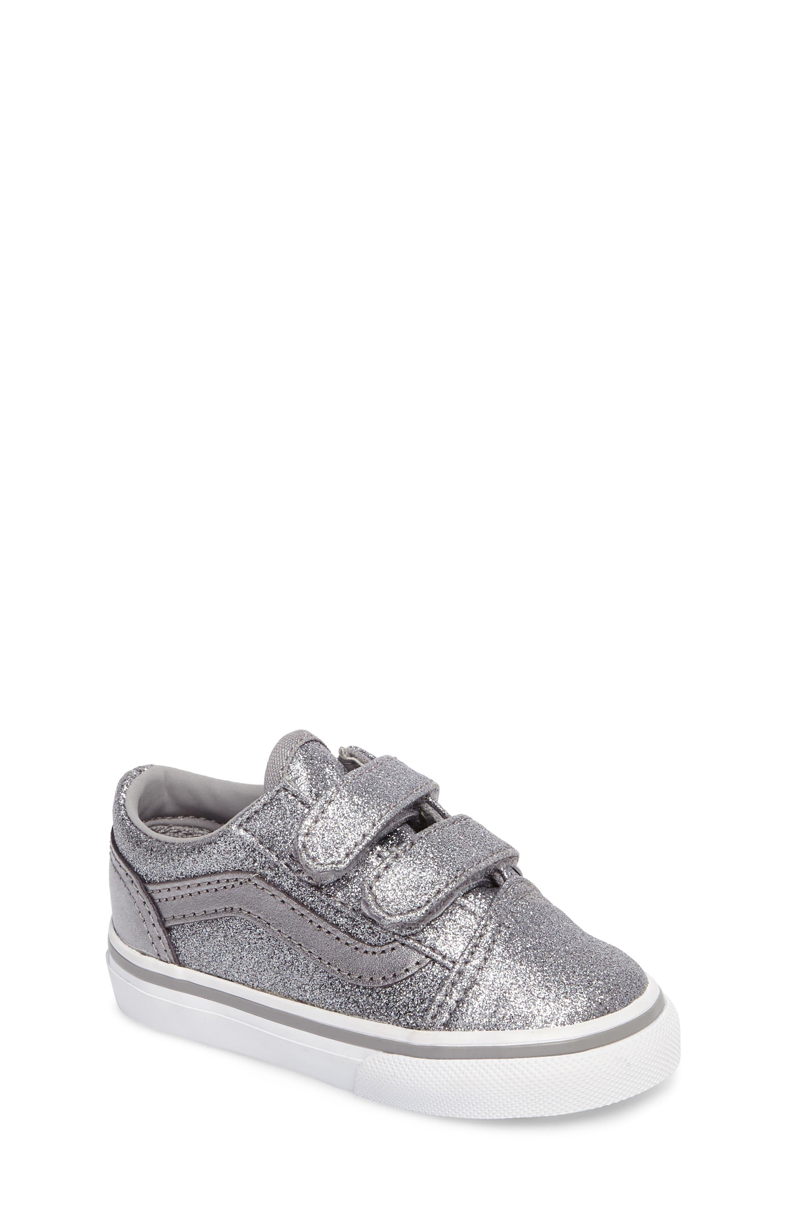 Old Skool V Glitter Sneaker,                         Main,                         color, Glitter  Metallic Frost Gray