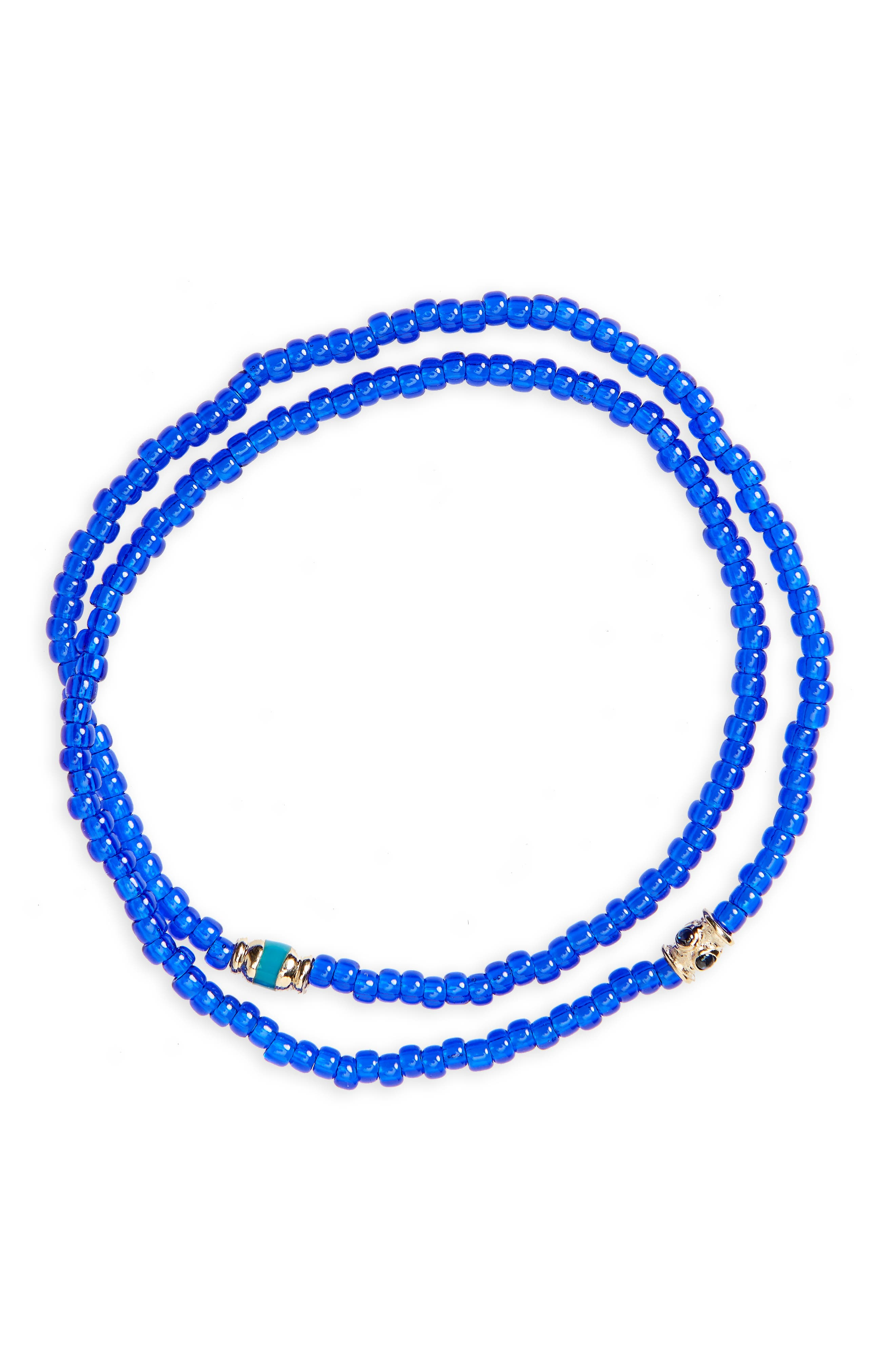 Sapphire and Gold Double Strand Stretch Bracelet,                         Main,                         color, Blue